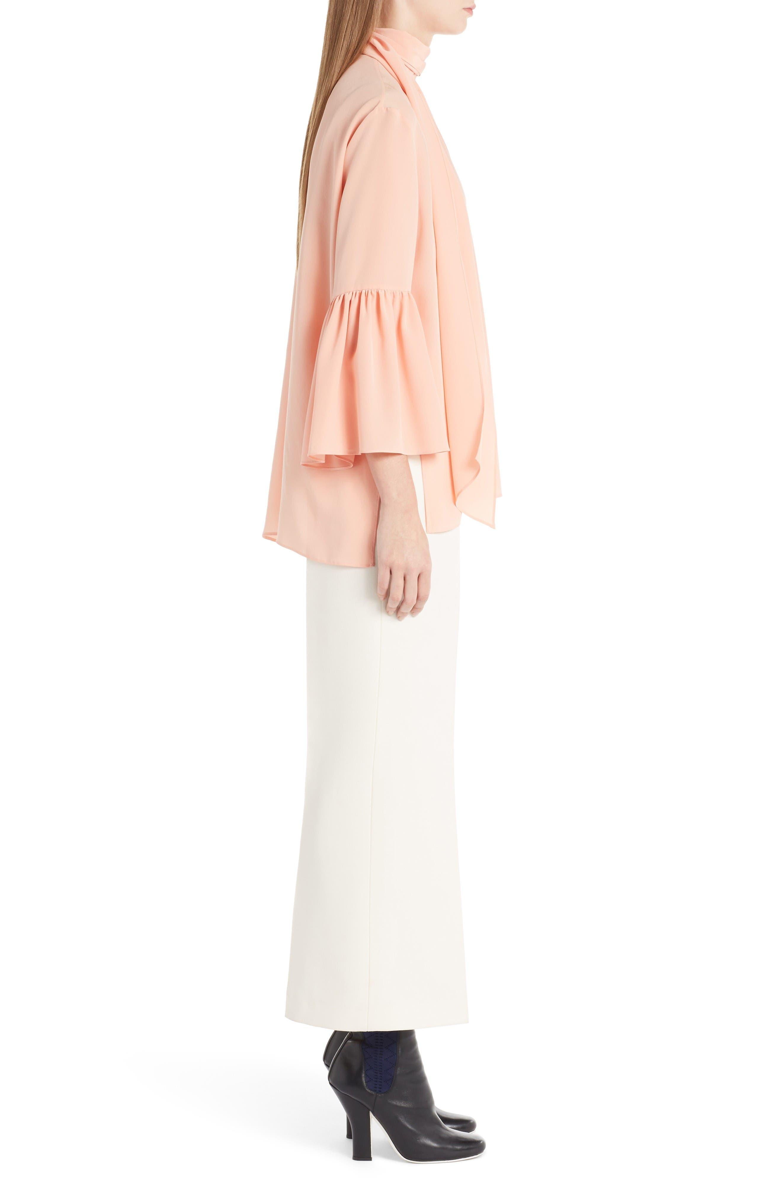 Alternate Image 4  - Fendi Silk Bell Sleeve Tie Neck Blouse