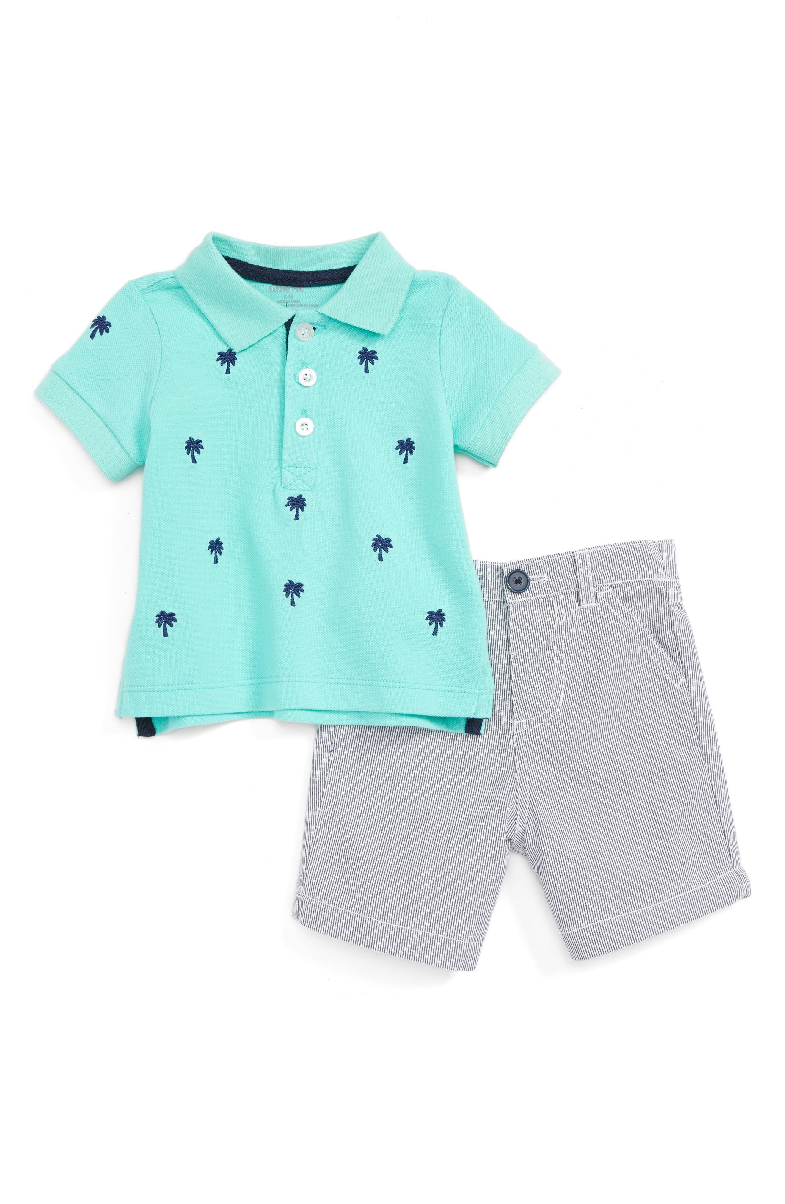 Little Me Palm Tree Polo & Pinstripe Shorts Set (Baby Boys)