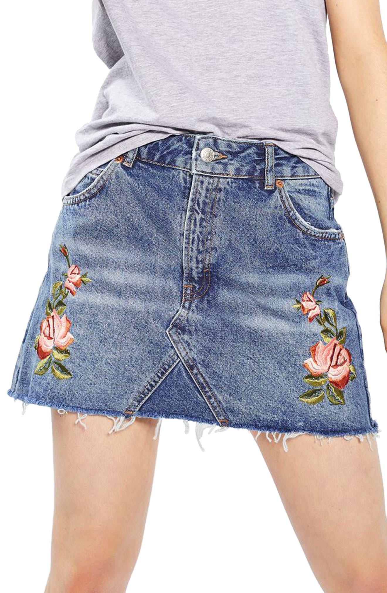 Alternate Image 6  - Topshop Rose Denim Miniskirt (Petite)