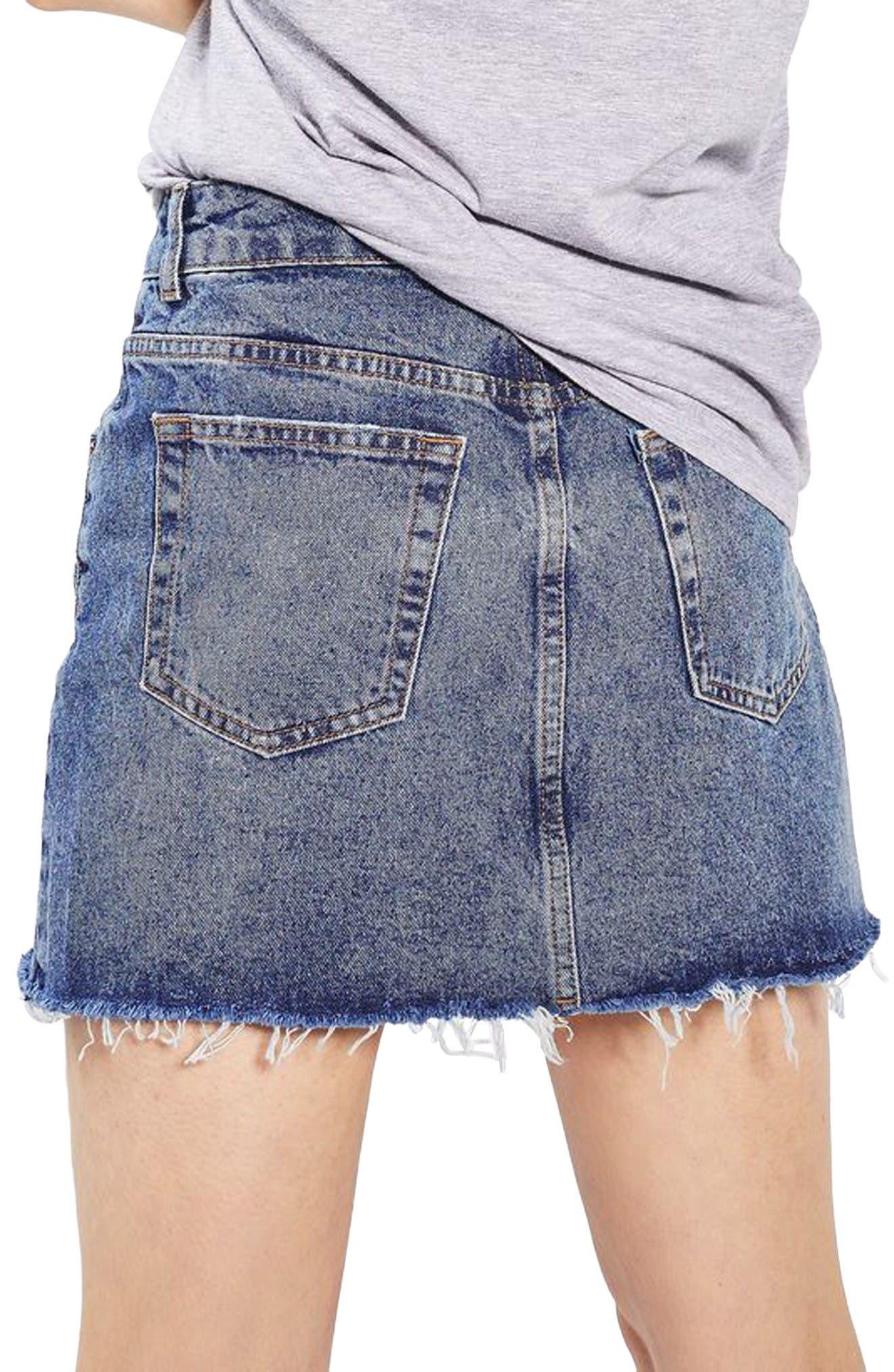 Alternate Image 3  - Topshop Rose Denim Miniskirt (Petite)