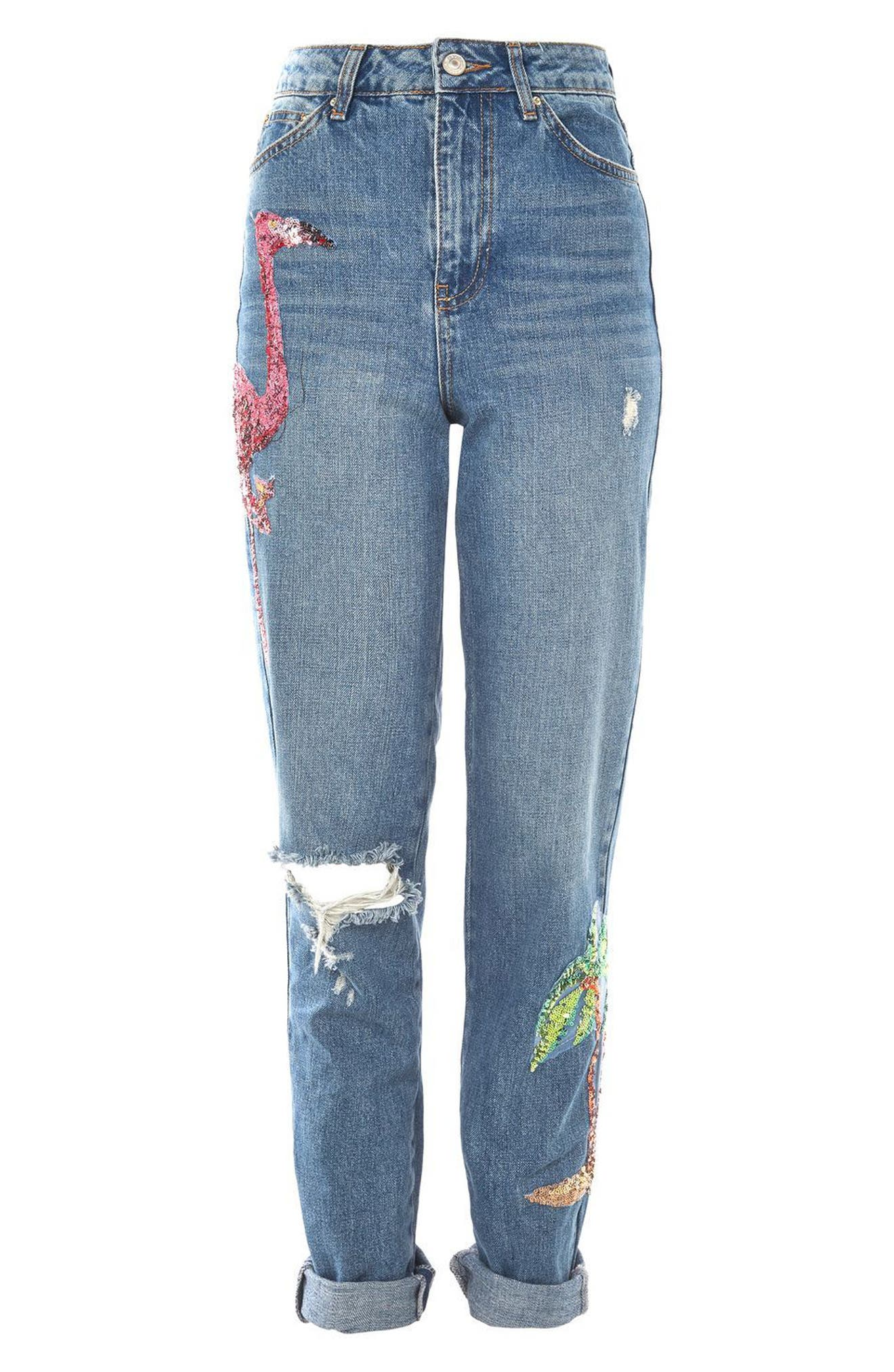 Alternate Image 4  - Topshop Distressed Sequin Mom Jeans (Tall)