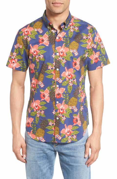Bonobos Slim Fit Tropical Print Short Sleeve Sport Shirt