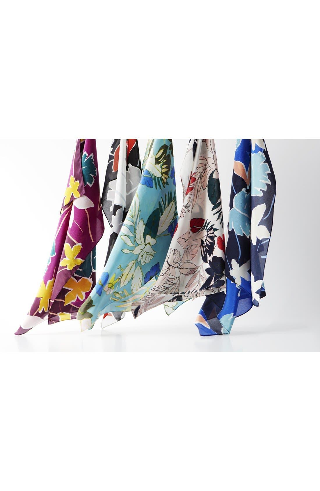 Alternate Image 4  - Halogen® Paradise Floral Silk Square Scarf