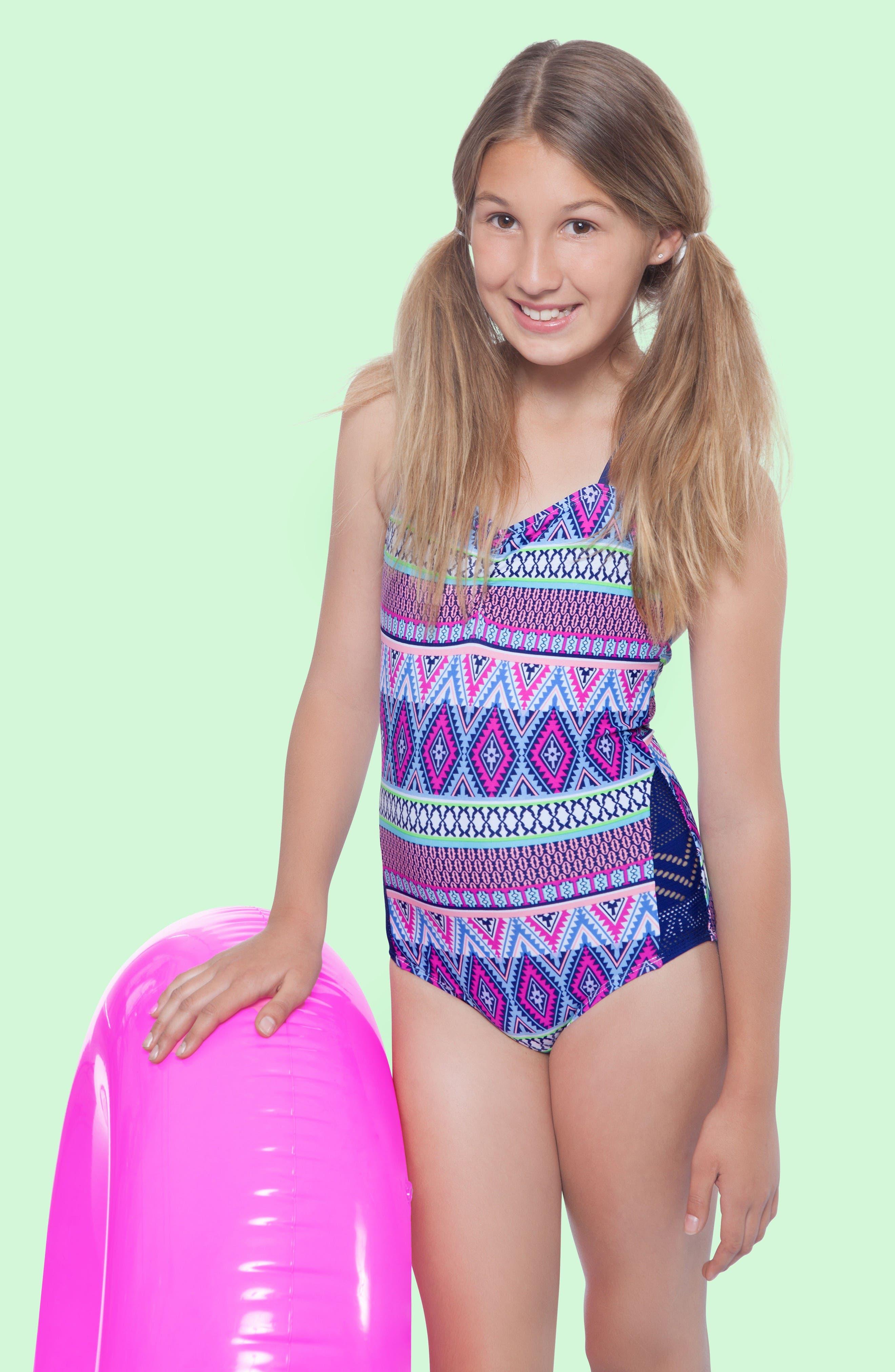 Alternate Image 2  - Gossip Girl Stripe Fusion One-Piece Swimsuit (Big Girls)