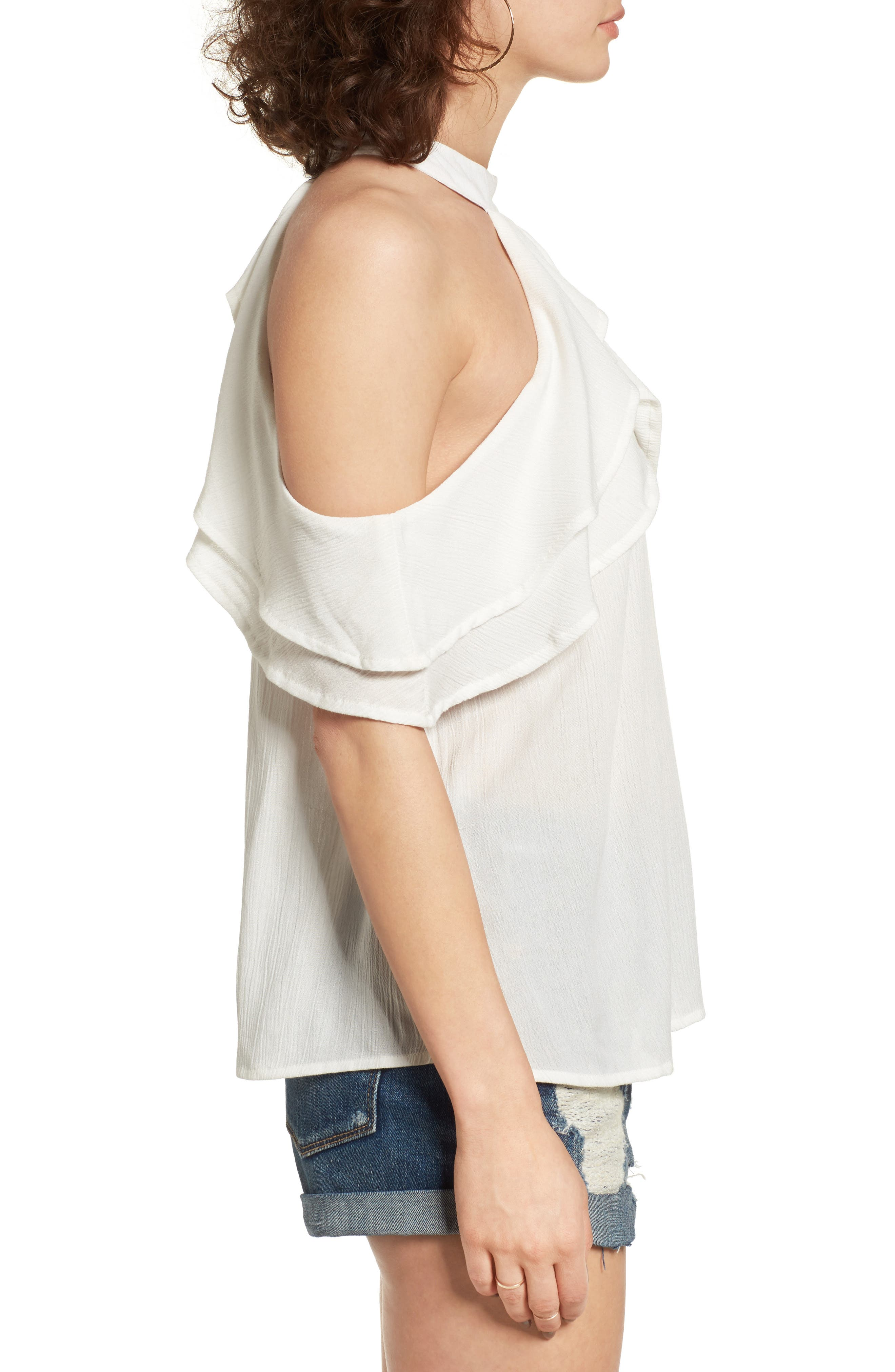 Alternate Image 3  - Band of Gypsies Ruffle Cold Shoulder Blouse
