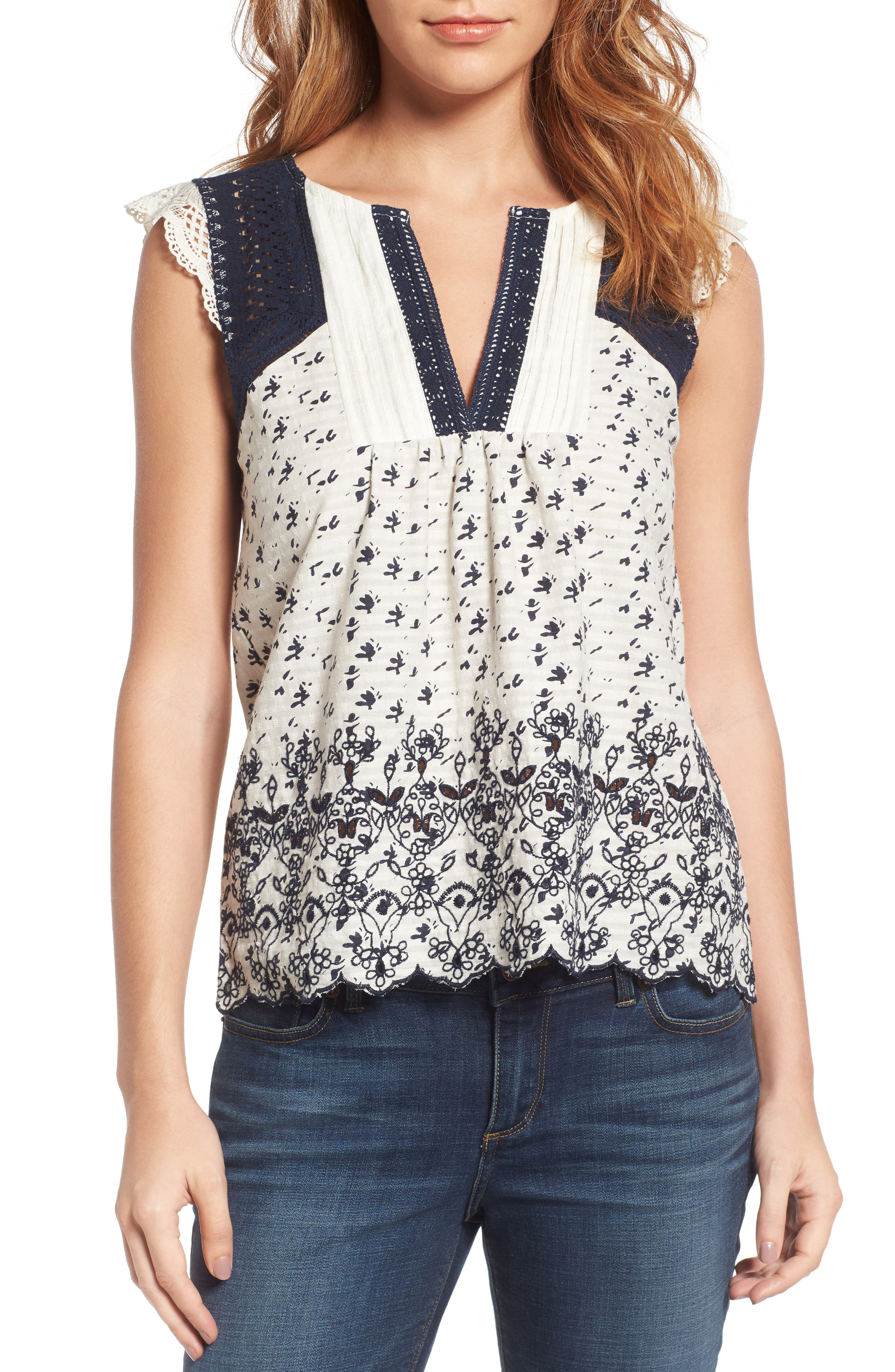 Lucky Brand Back Keyhole Embroidered Top