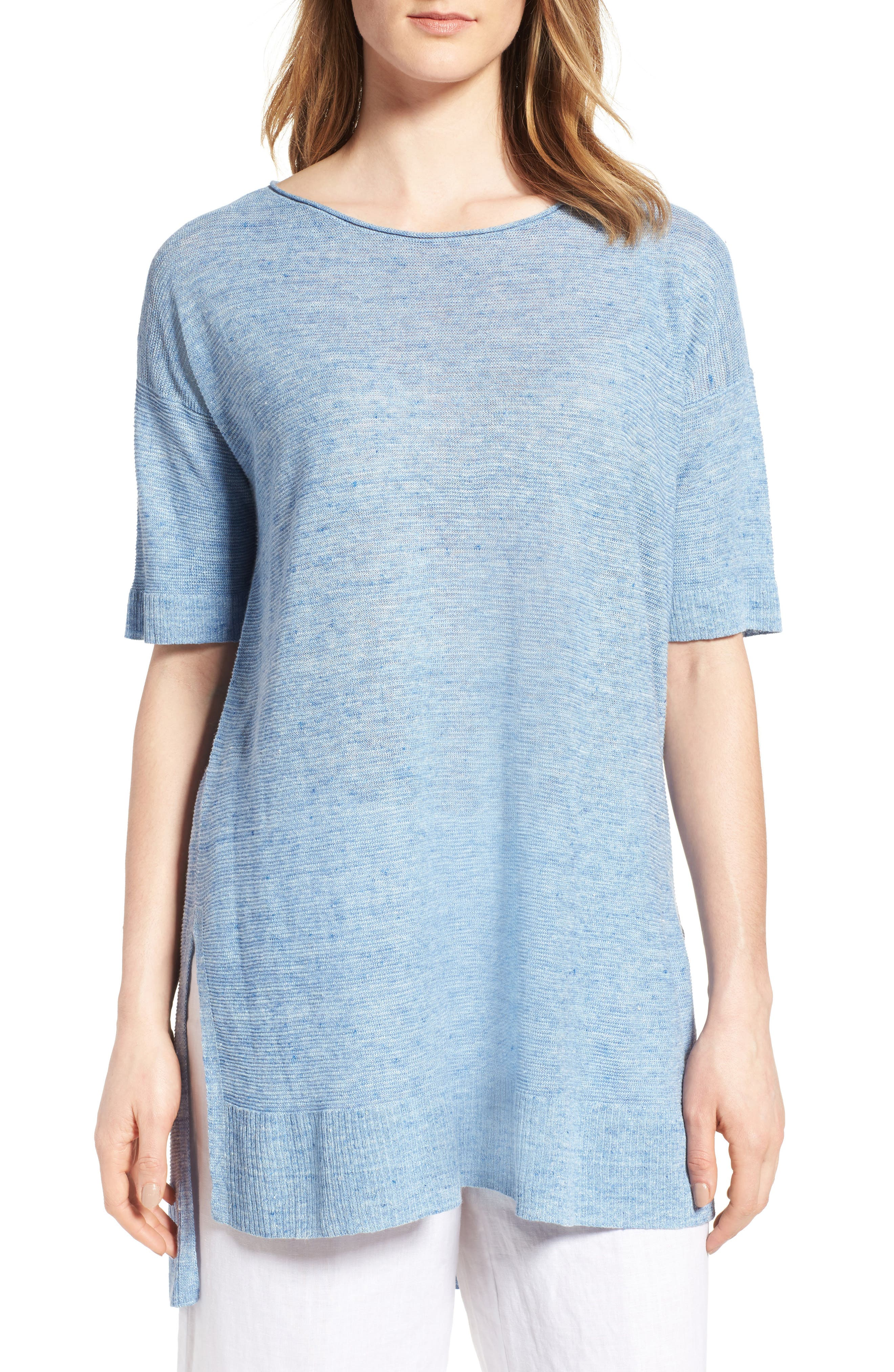 Eileen Fisher Boxy Linen Top (Regular & Petite)
