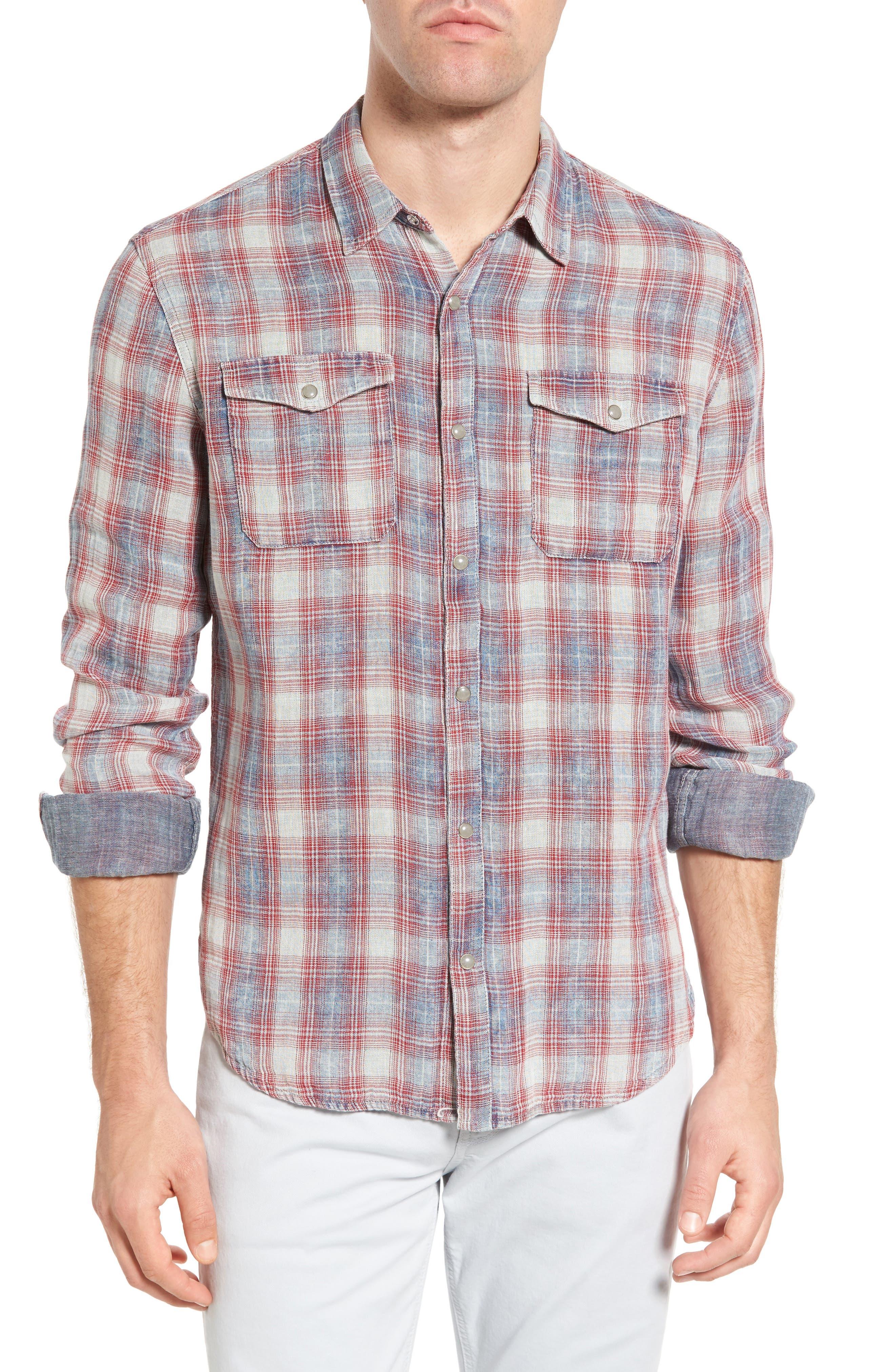 John Varvatos Star USA Trim Fit Plaid Cotton Western Shirt