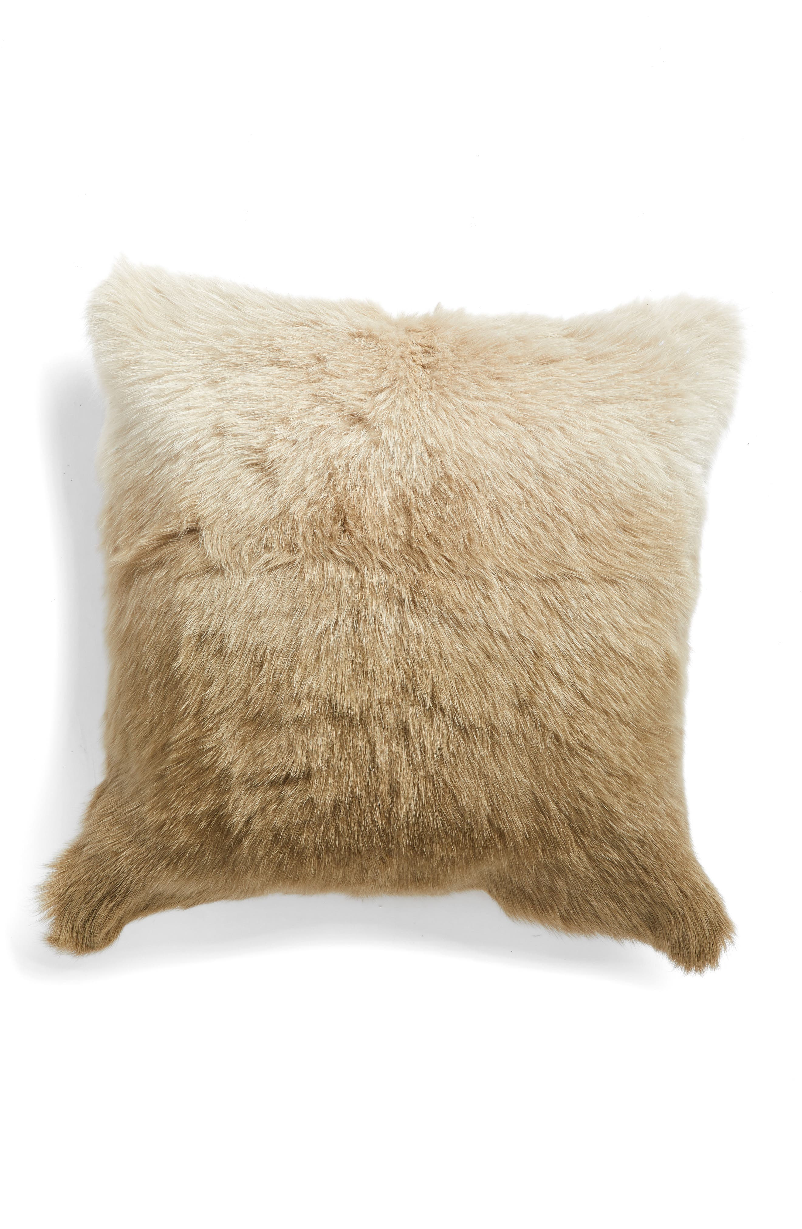 Cloud9 Designs Ombré Genuine Goat Fur Accent Pillow