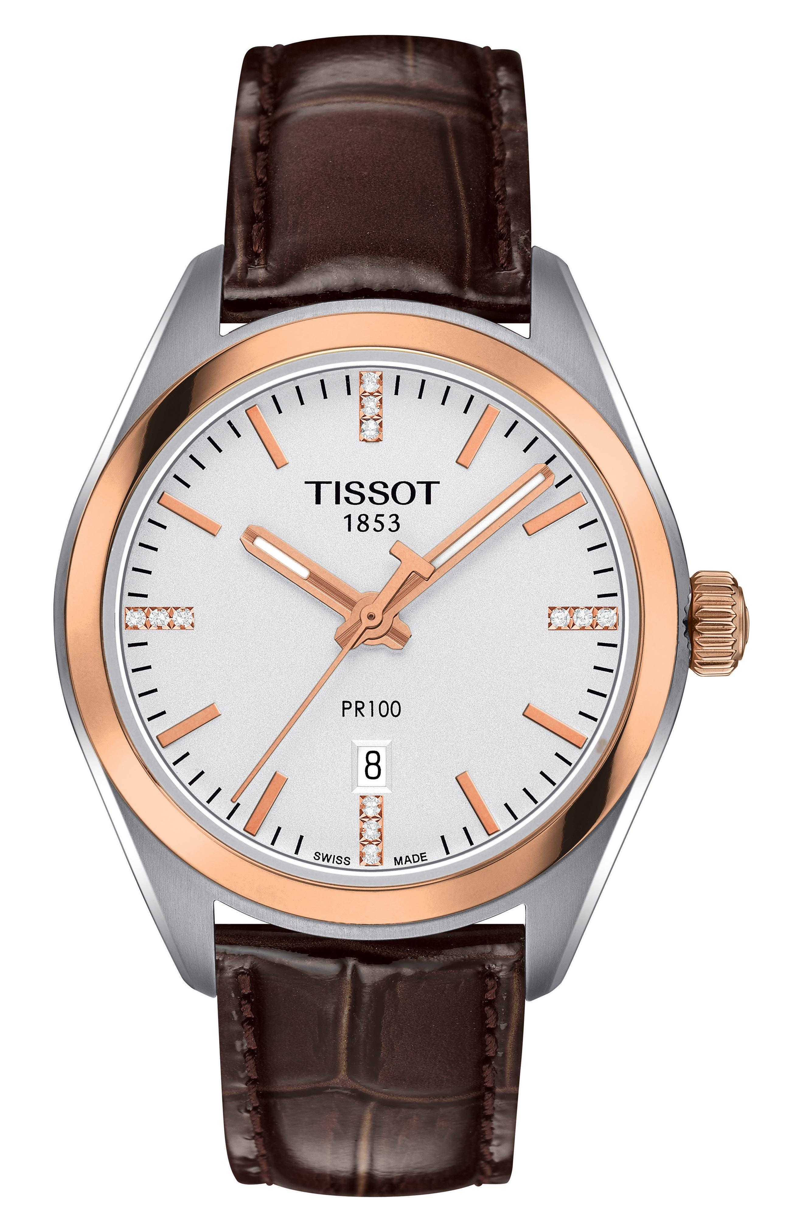 Alternate Image 1 Selected - Tissot PR100 Diamond Leather Strap Watch, 33mm