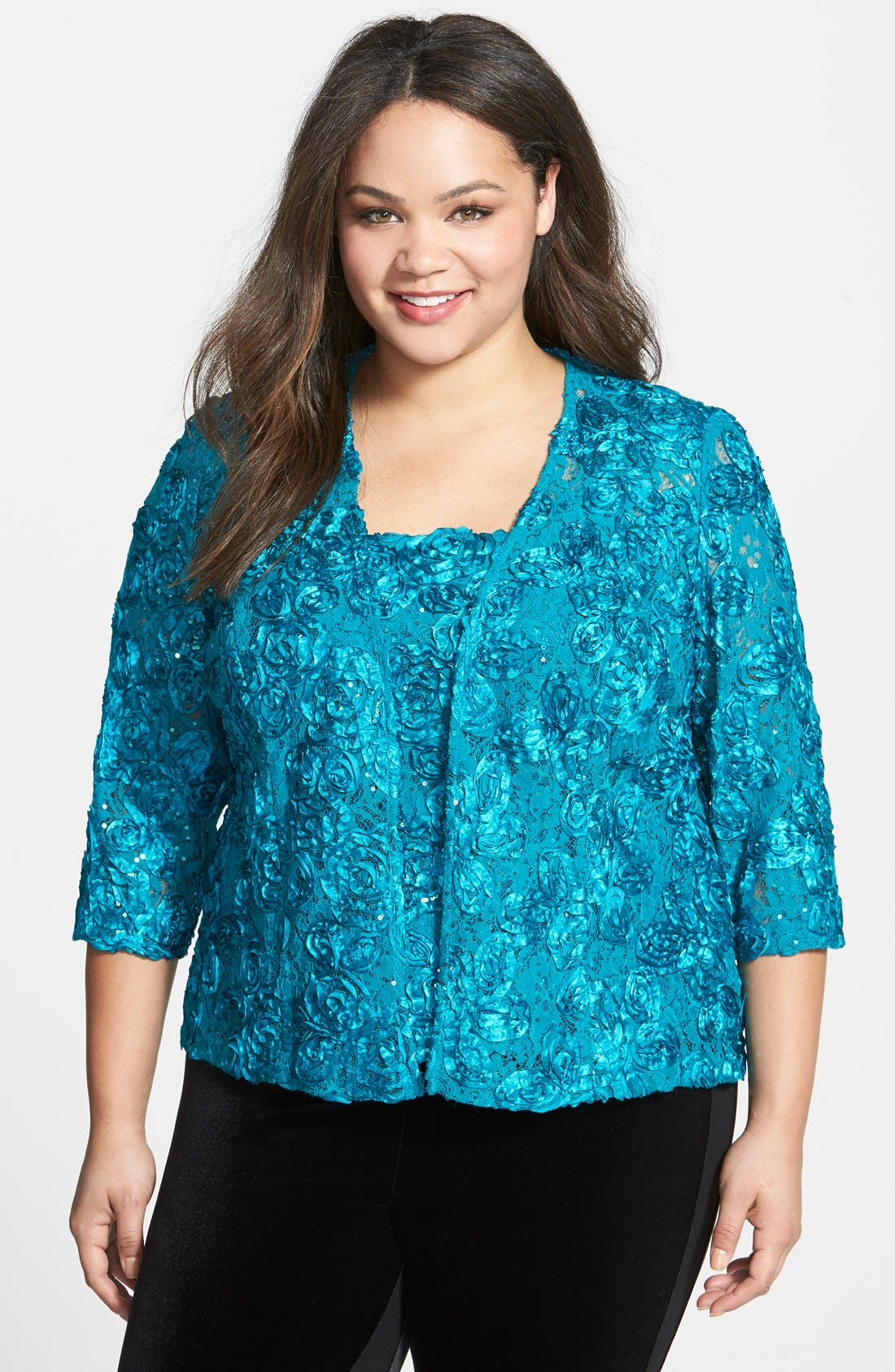 Main Image - Alex Evenings Rosette Twinset (Plus Size)