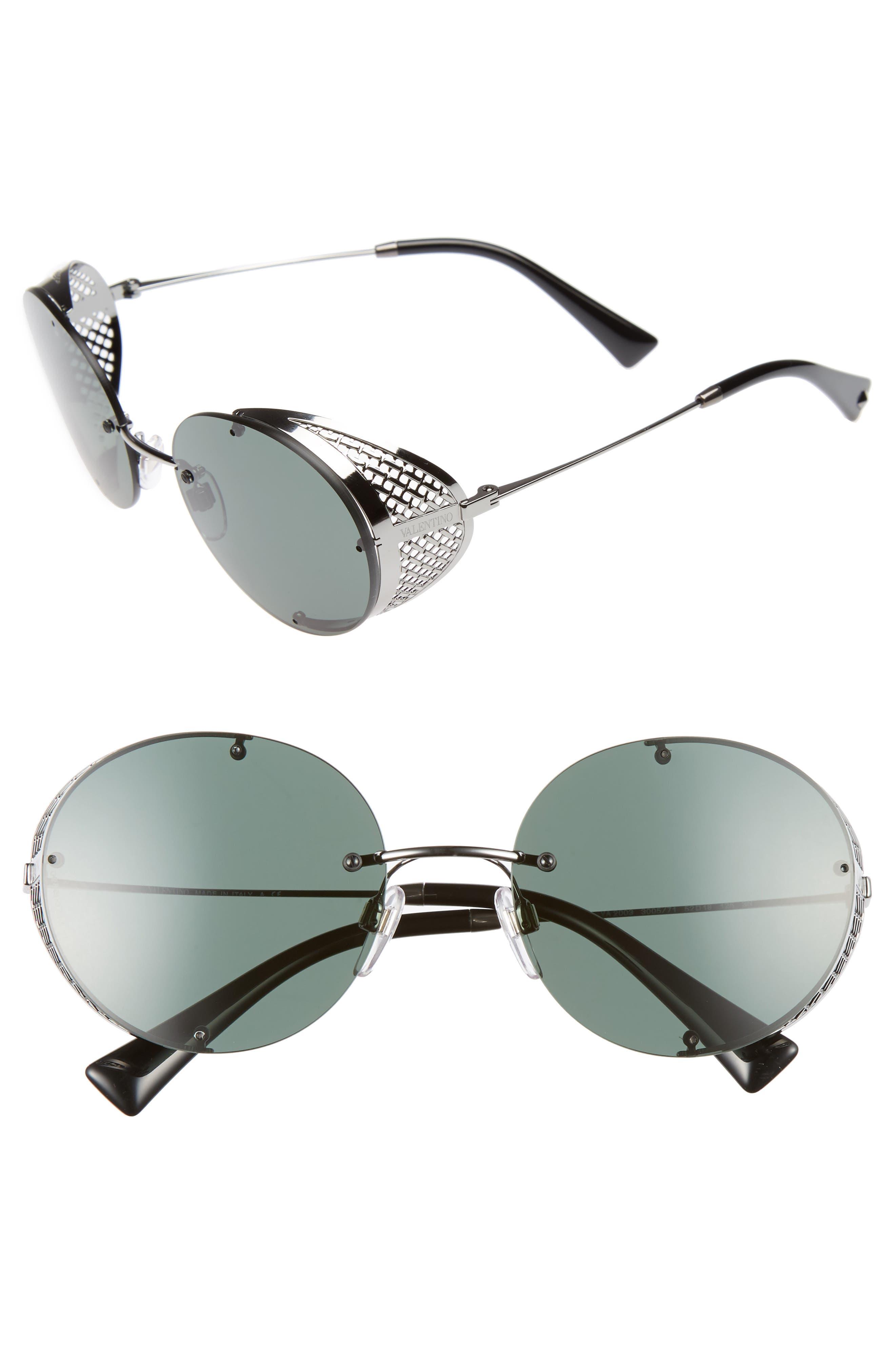 Valentino 52mm Round Sunglasses