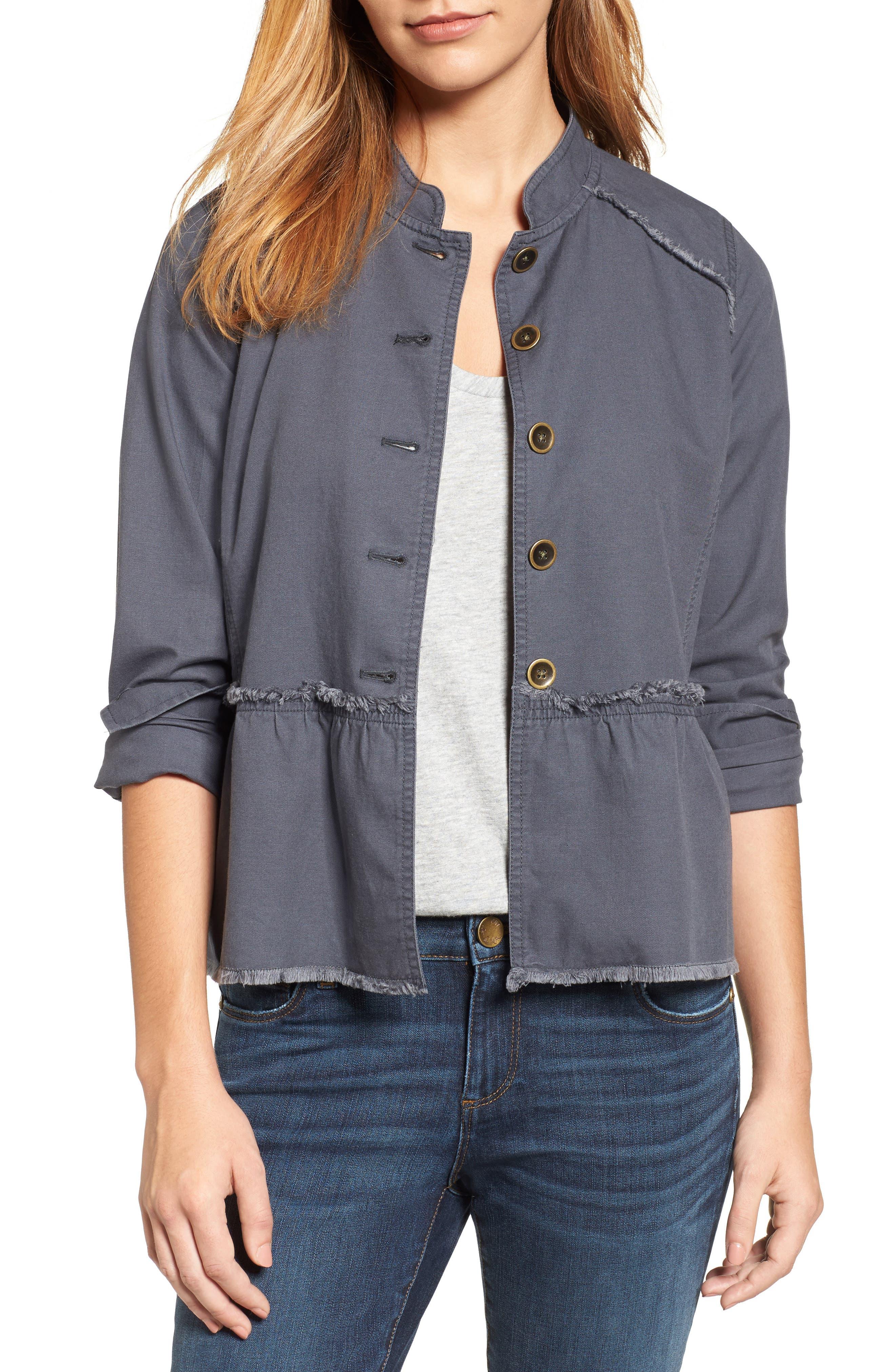 Caslon® Twill Peplum Jacket (Regular & Petite)