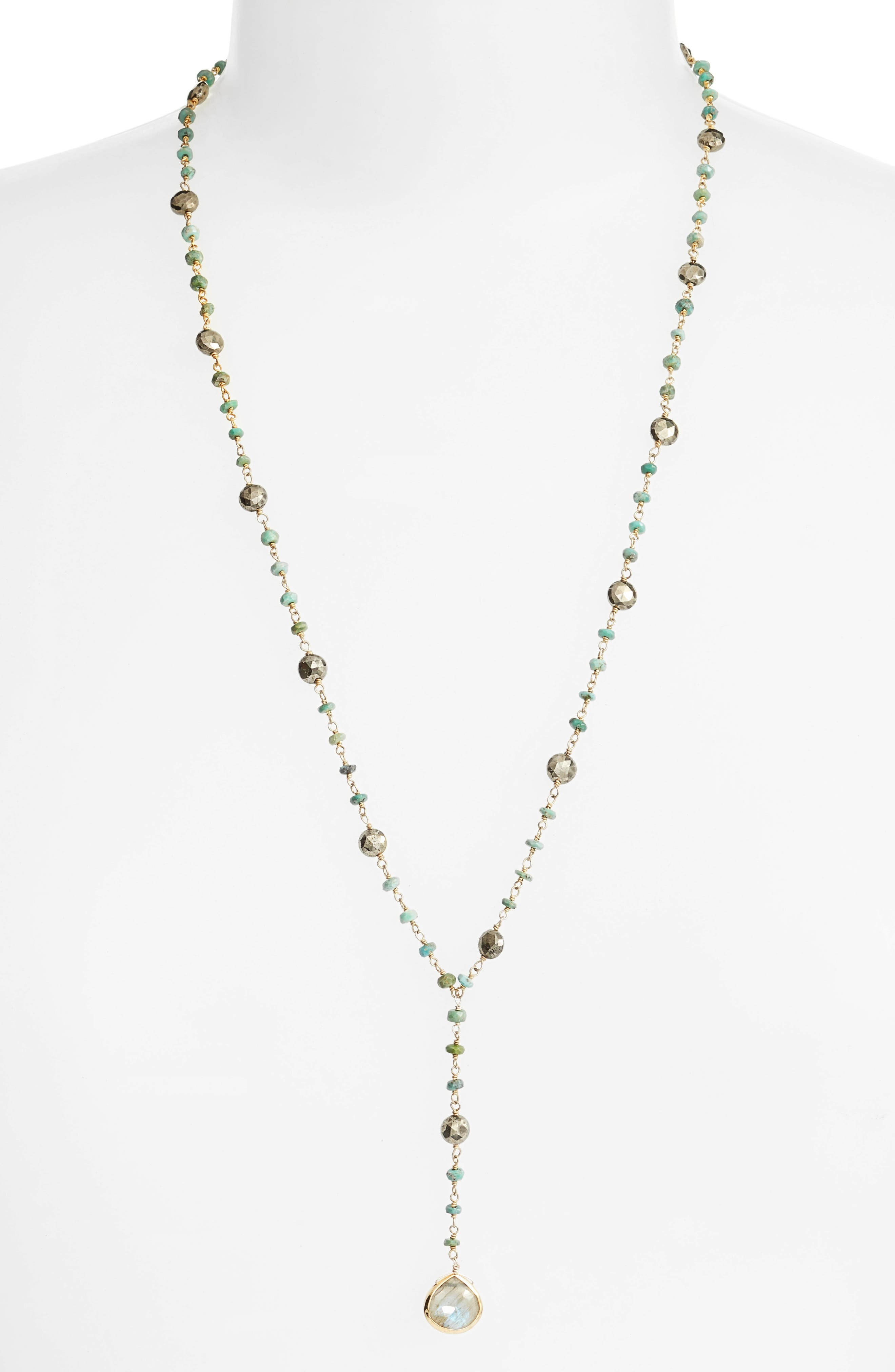 ela rae Yaeli Satellite 24 Semiprecious Stone Y-Necklace