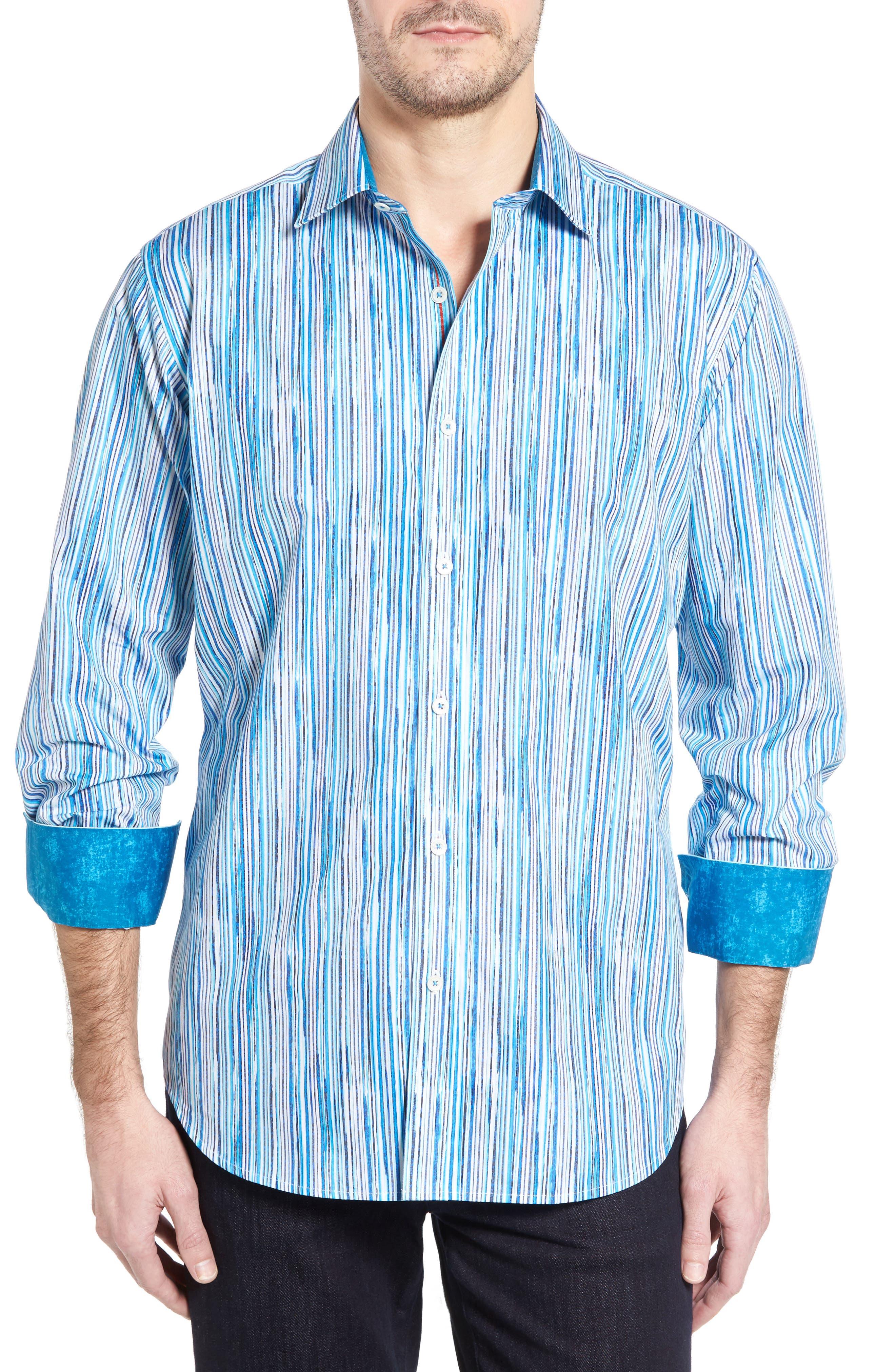 Bugatchi Classic Fit Vertical Stripe Sport Shirt