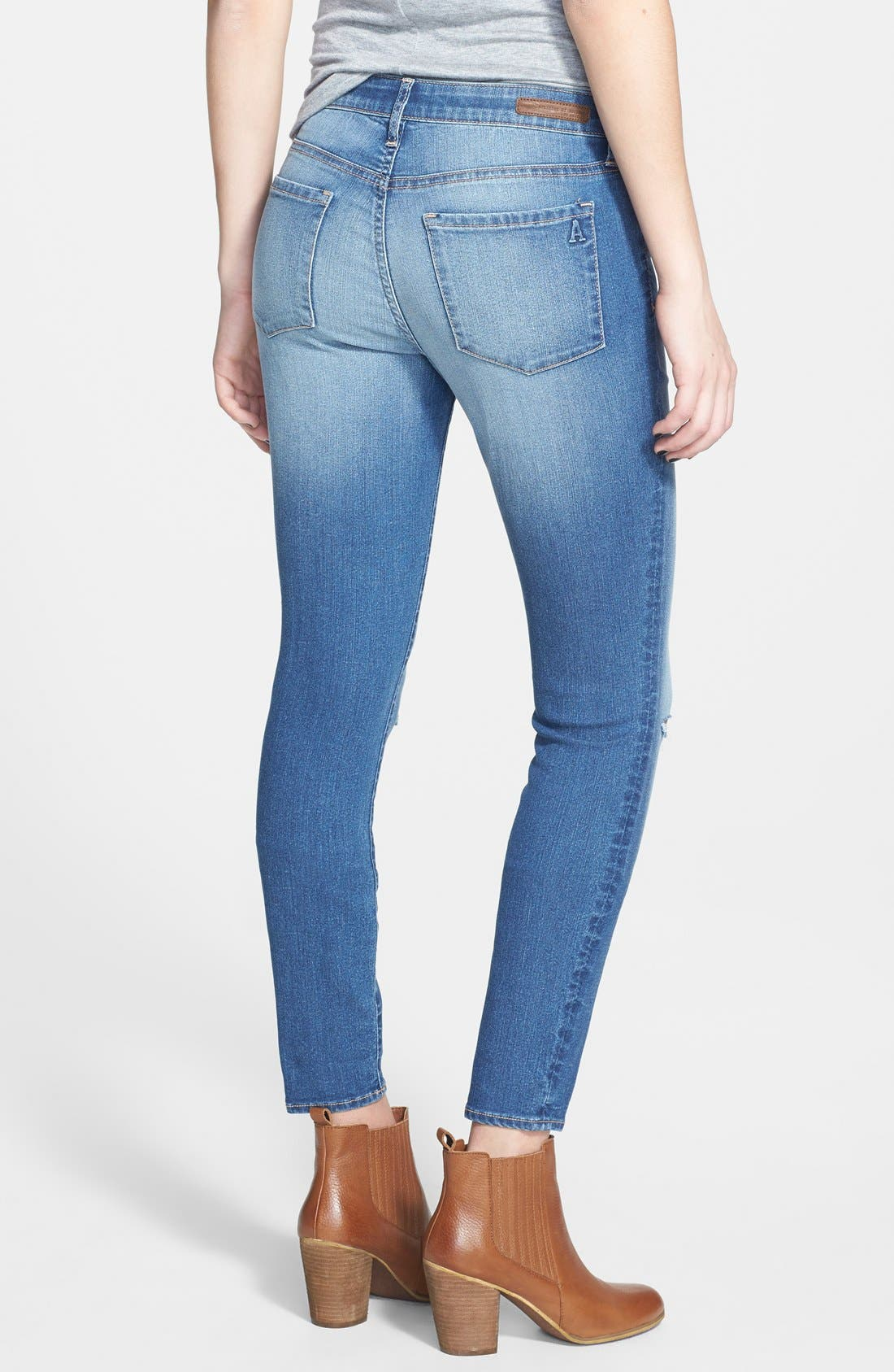 Alternate Image 2  - Articles of Society Destroyed Skinny Jeans (Medium)