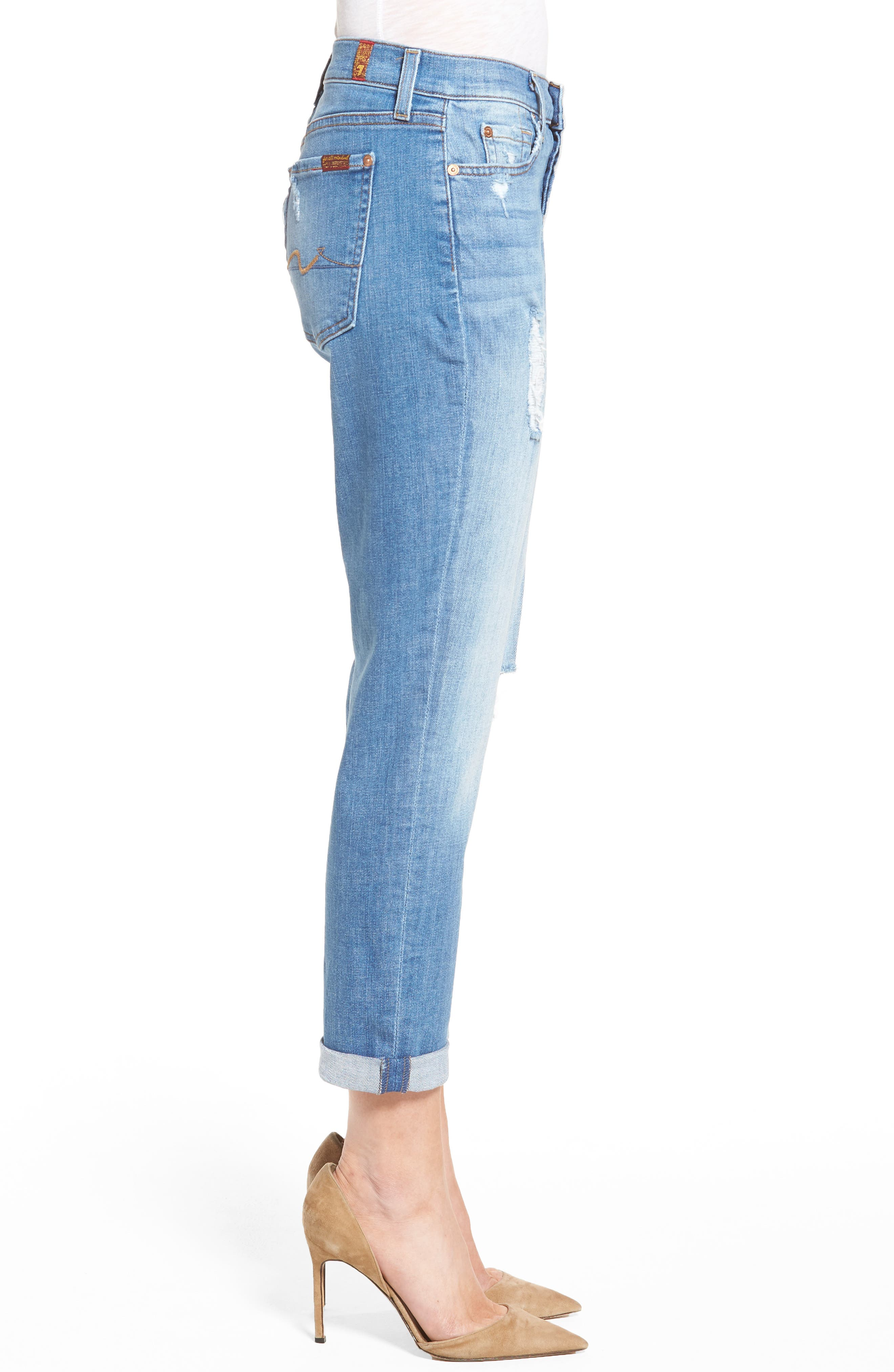 Alternate Image 3  - 7 For All Mankind® 'Josefina' Mid Rise Boyfriend Jeans (Adelaide Bright Blue 2)