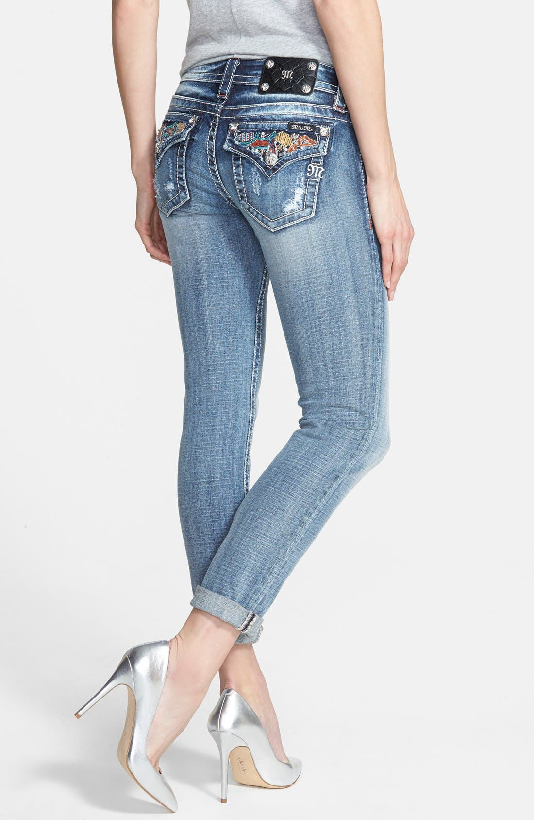 Alternate Image 2  - Miss Me Distressed Skinny Ankle Jeans with Roll Hems (Medium Blue)