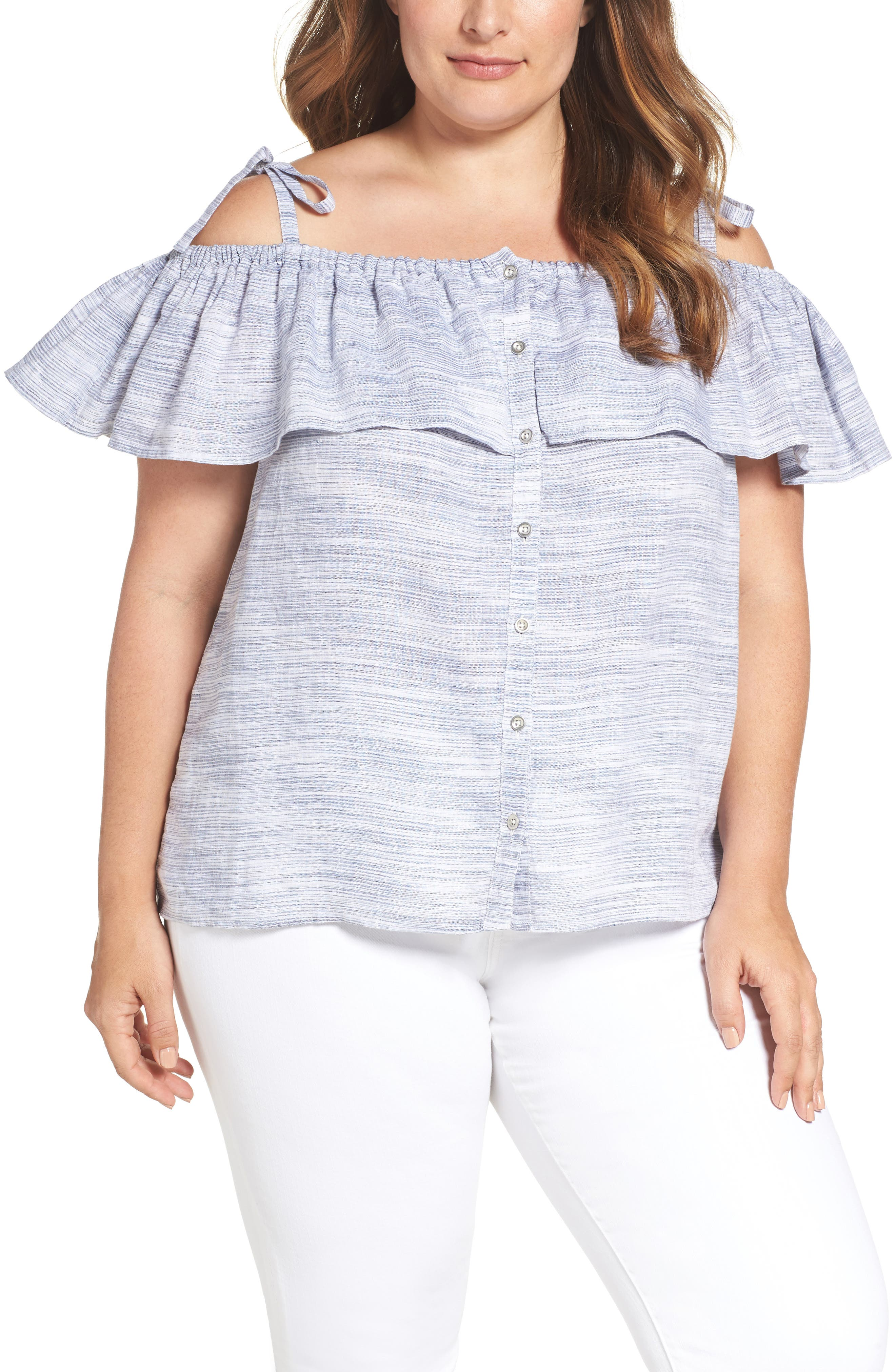 Lucky Brand Ruffled Off the Shoulder Linen Top (Plus Size)