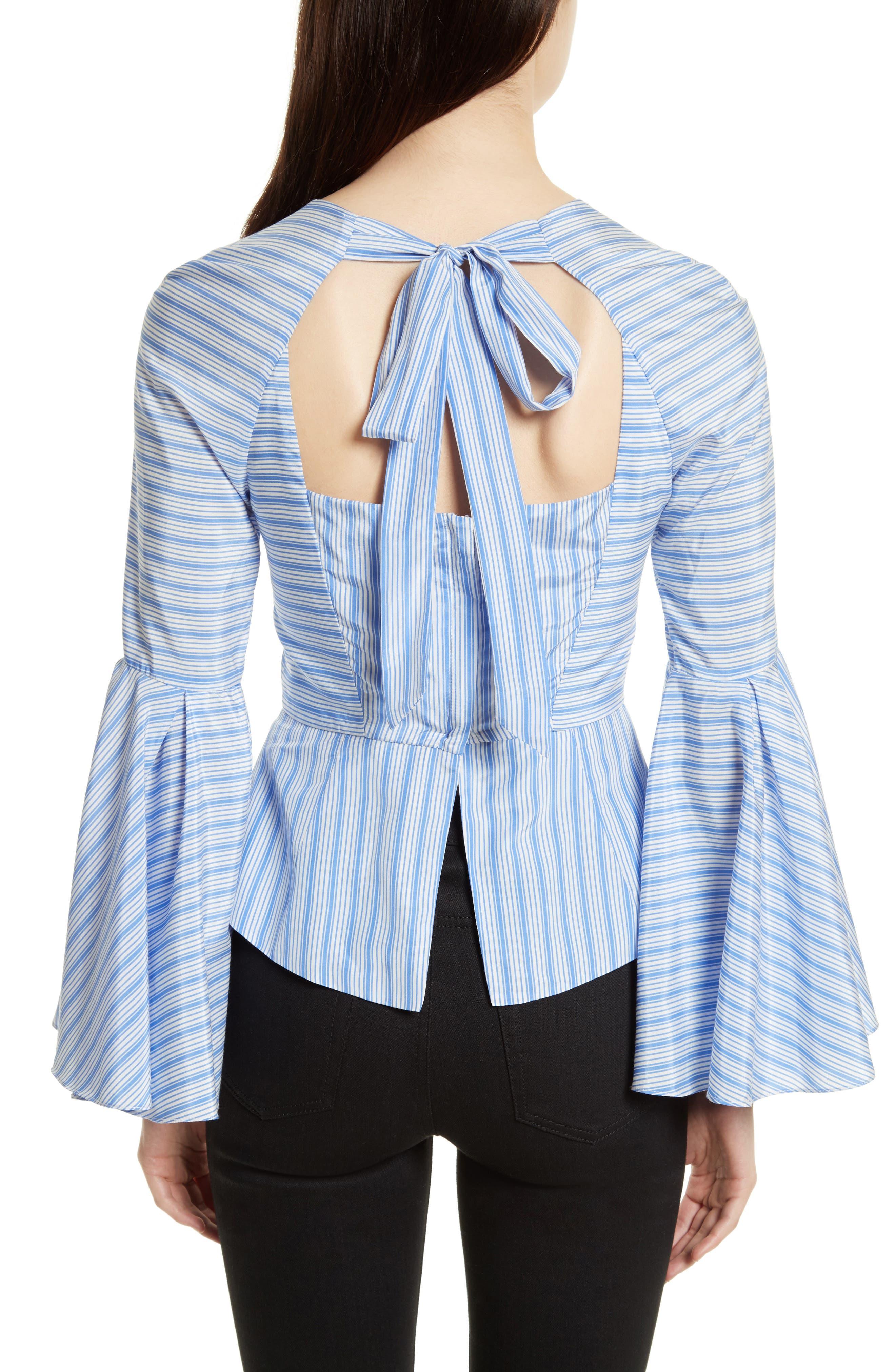 Alternate Image 2  - Milly Tie Back Stripe Peplum Top