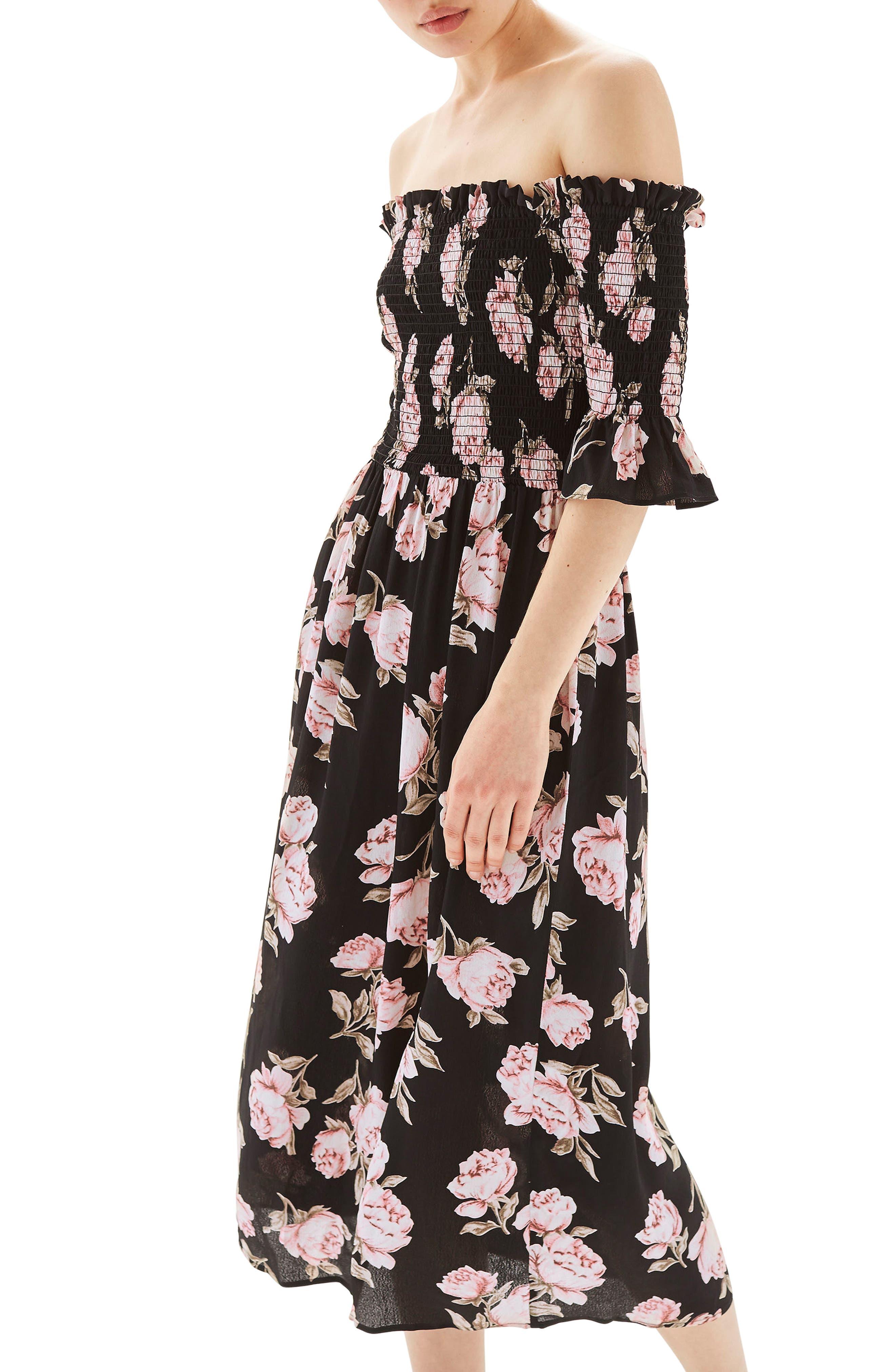 Topshop Bardot Rose Midi Dress
