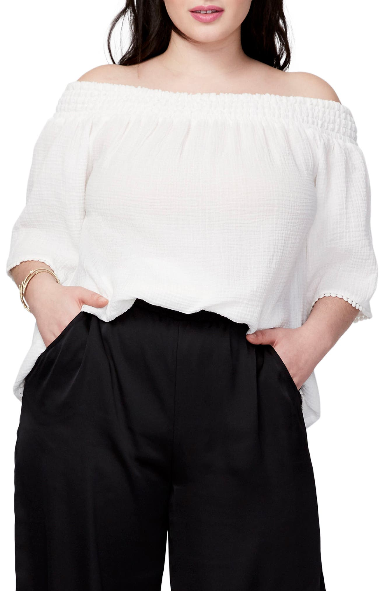 RACHEL Rachel Roy Smocked Off the Shoulder Top (Plus Size)