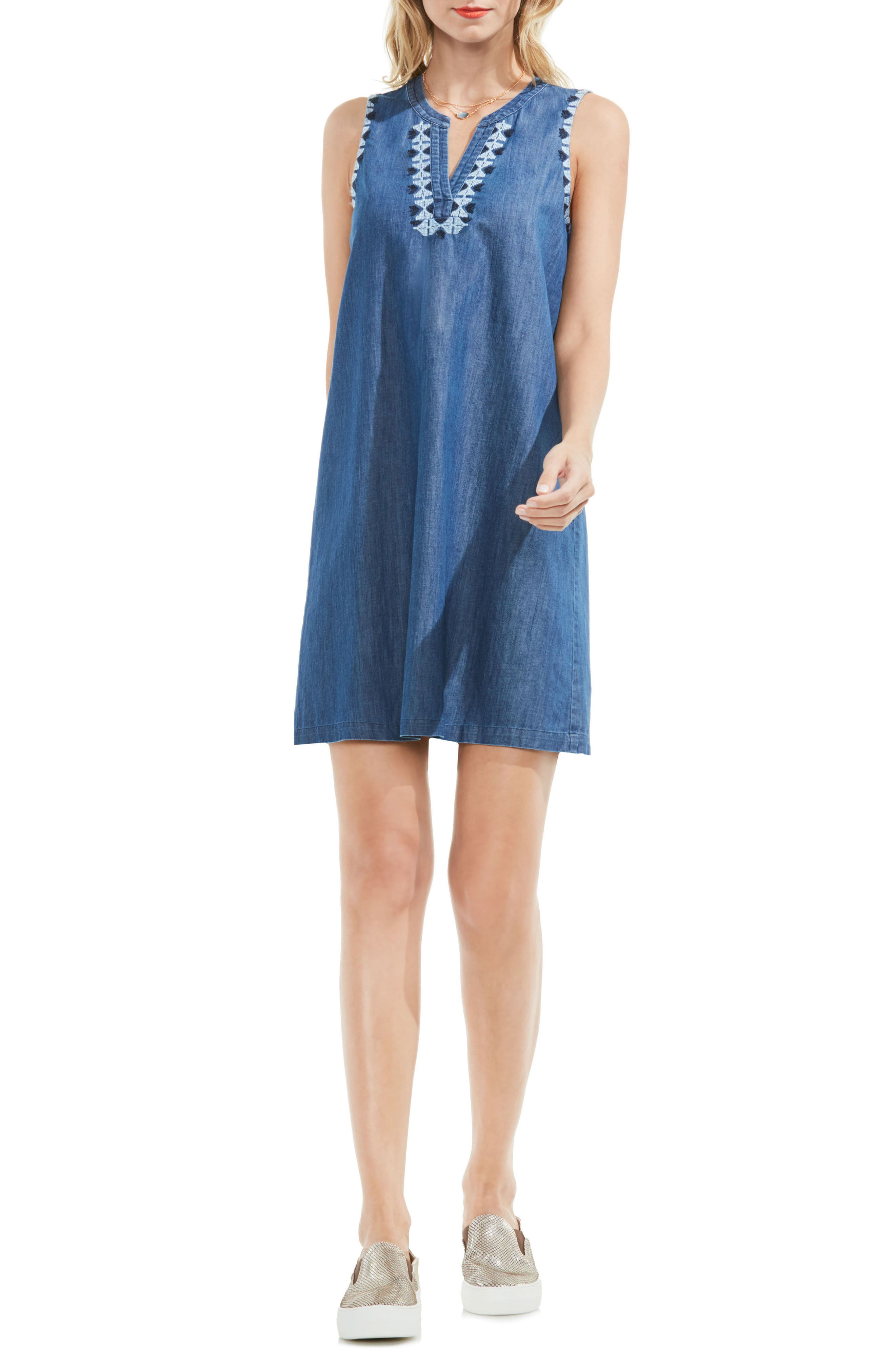 Two by Vince Camuto Embroidered Denim Shift Dress