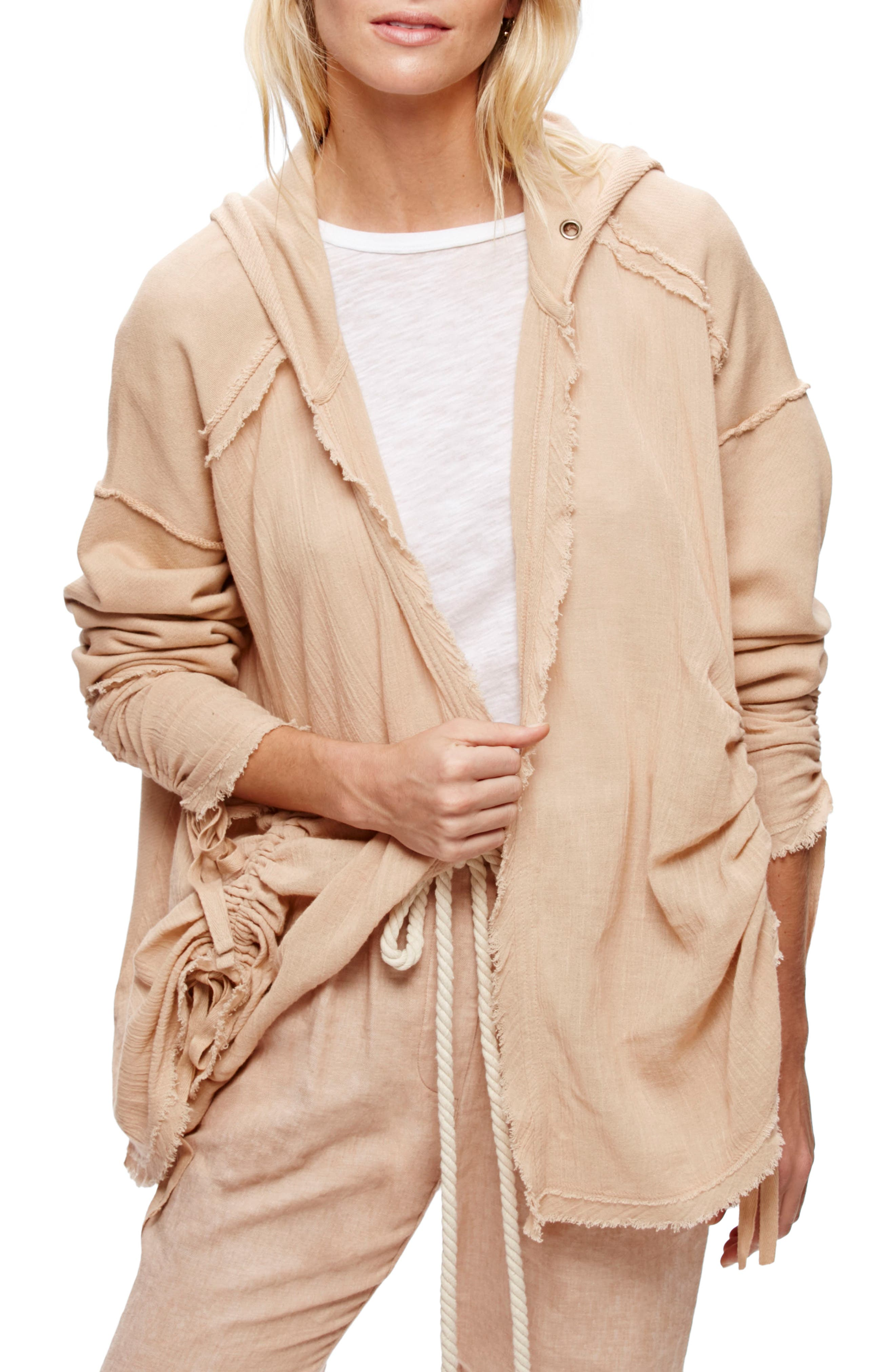 Free People Get Yer Gauze Hooded Cotton Cardigan