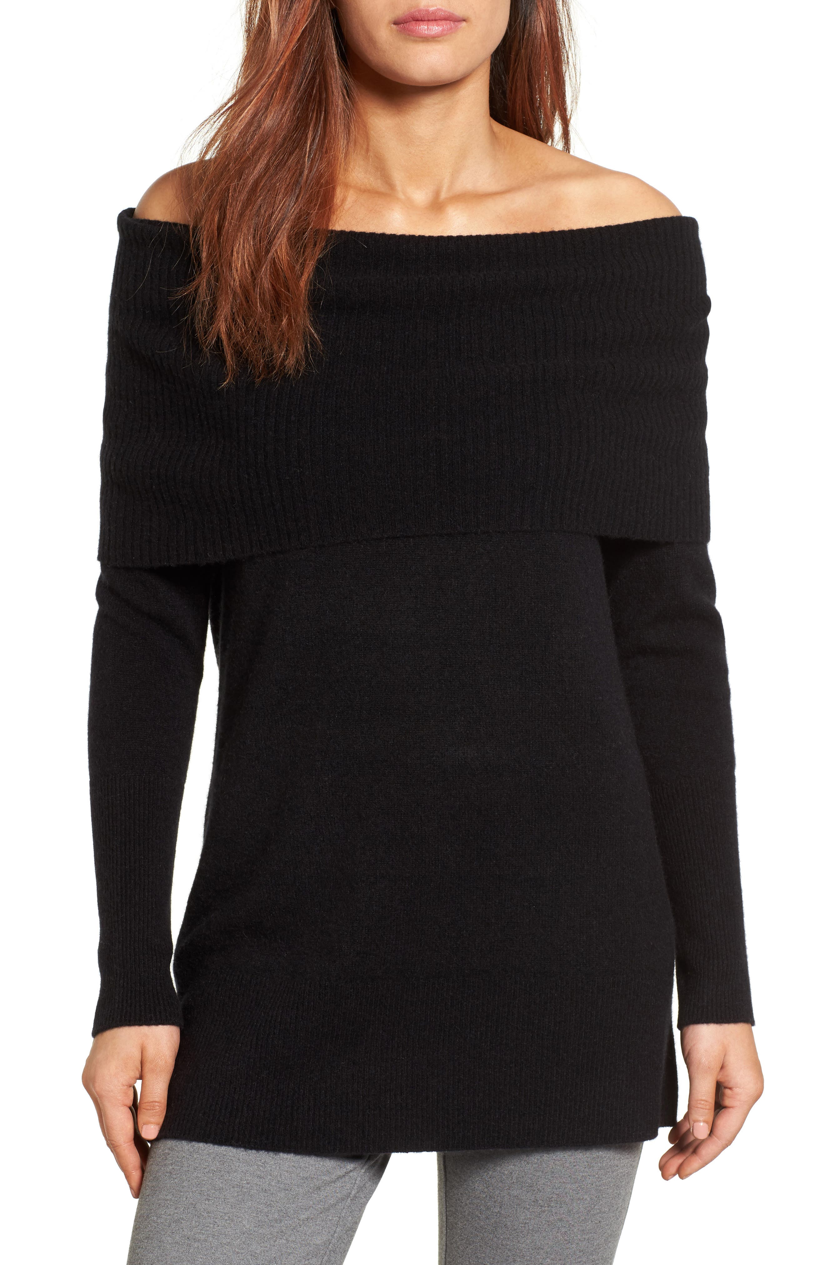 Halogen® Cashmere Off the Shoulder Sweater (Regular & Petite)