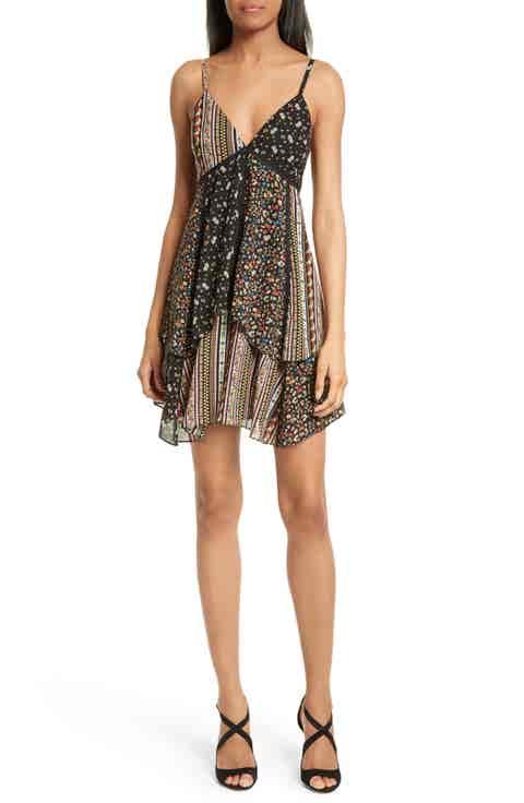 Alice   Olivia Delilah Tiered Print Stretch Silk Dress