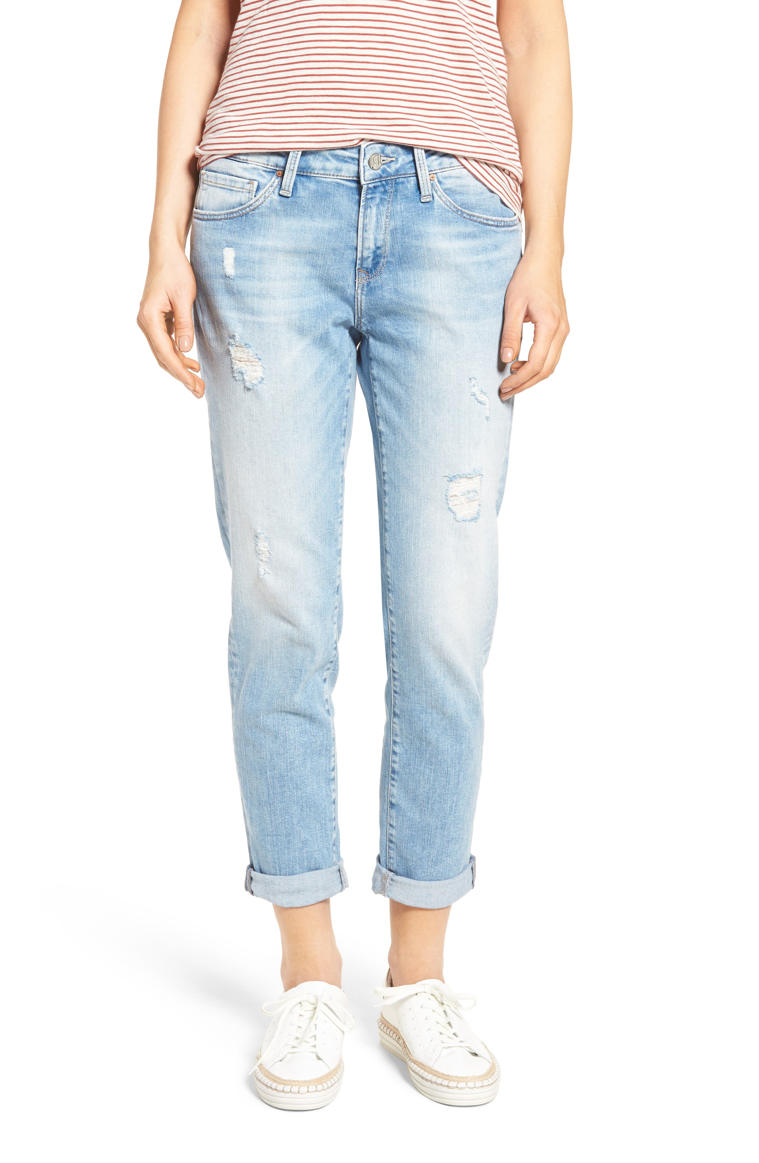 Main Image - Mavi Jeans Ada Ripped Boyfriend Jeans (Crashed Vintage)
