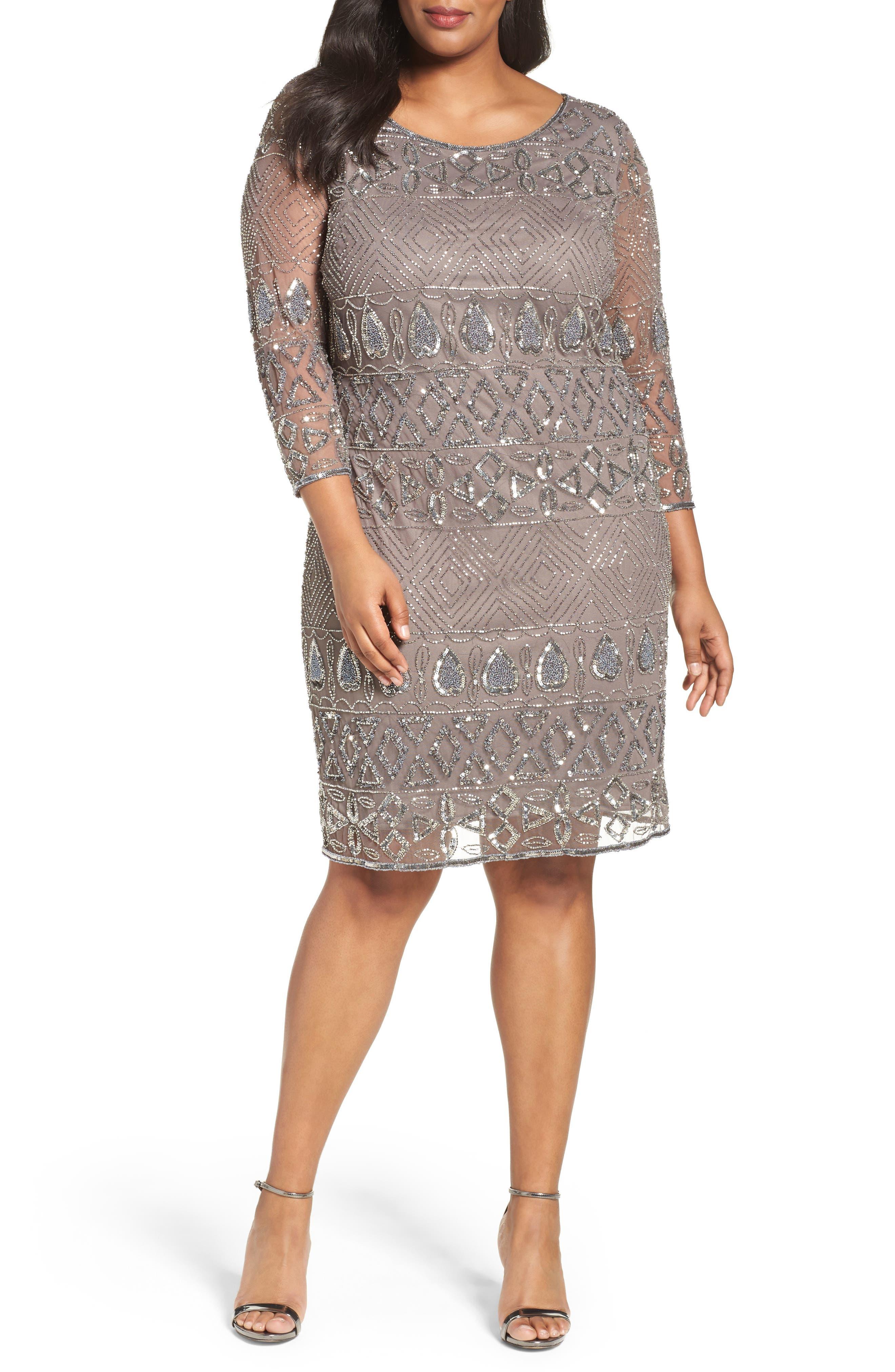 Pisarro Nights Heart Motif Embellished Sheath Dress (Plus Size)