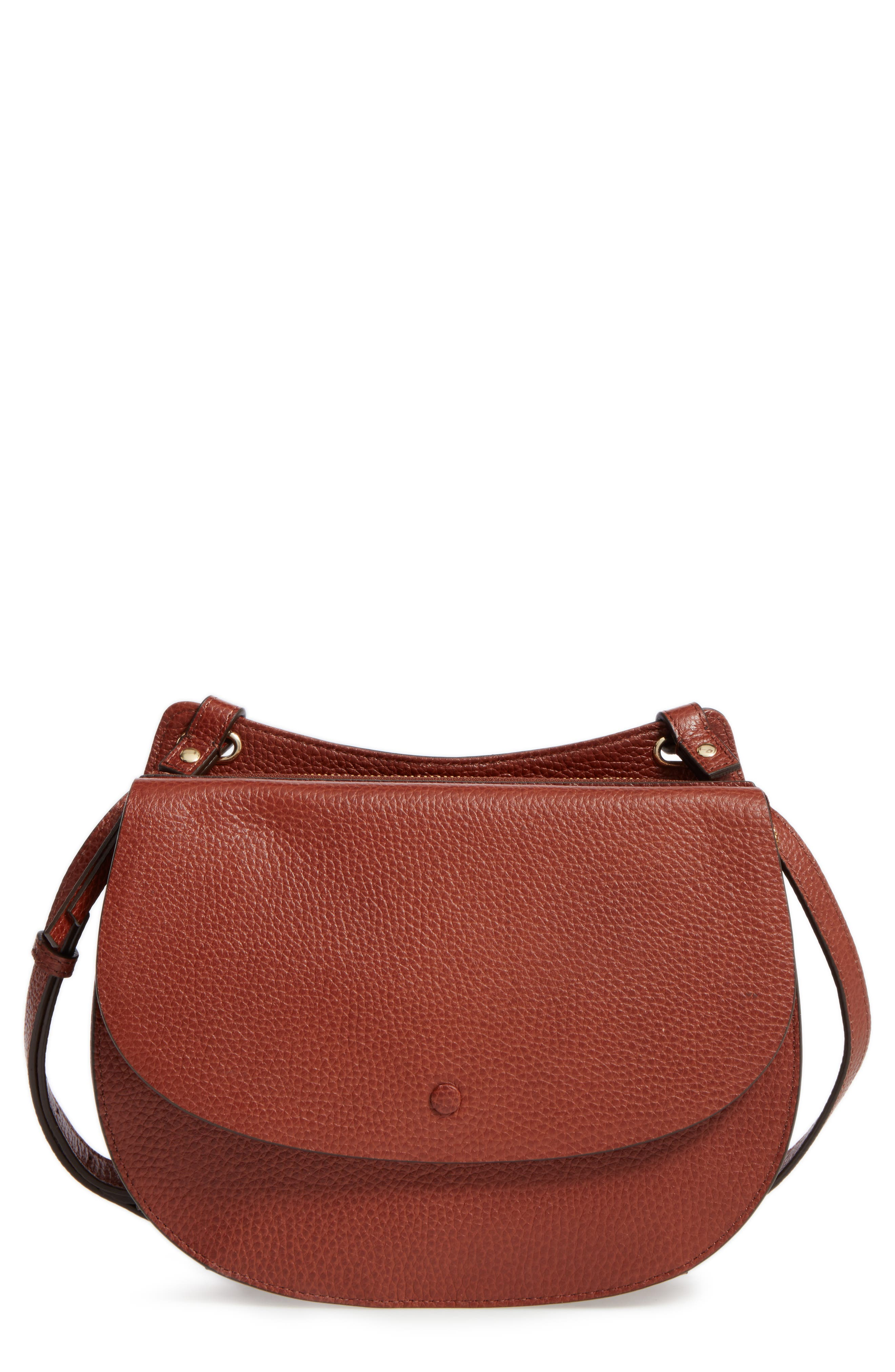 Halogen® Leather Saddle Bag