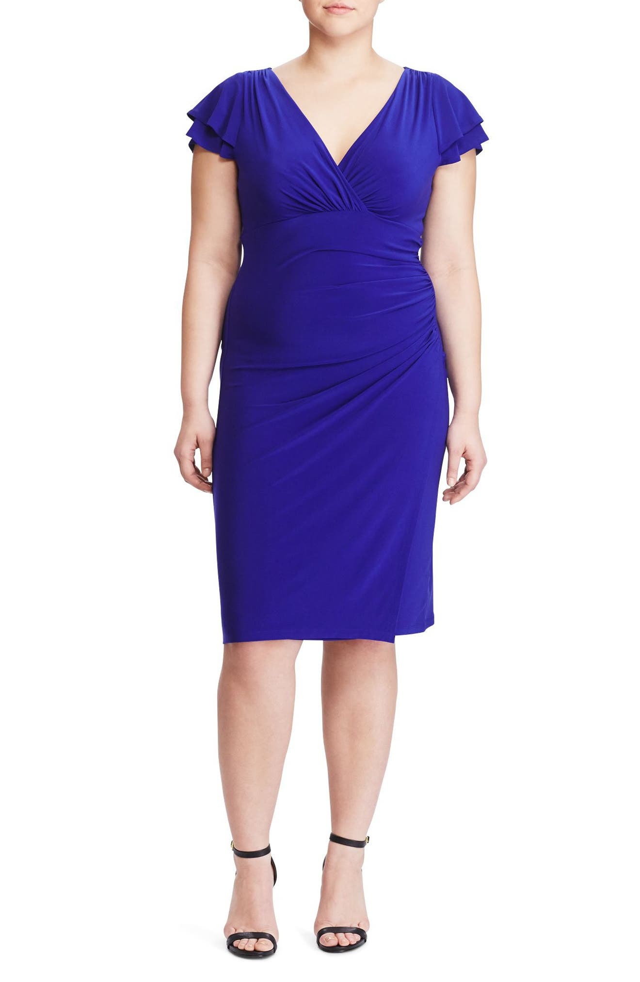 Lauren Ralph Lauren Flutter Sleeve Jersey Sheath Dress (Plus Size)