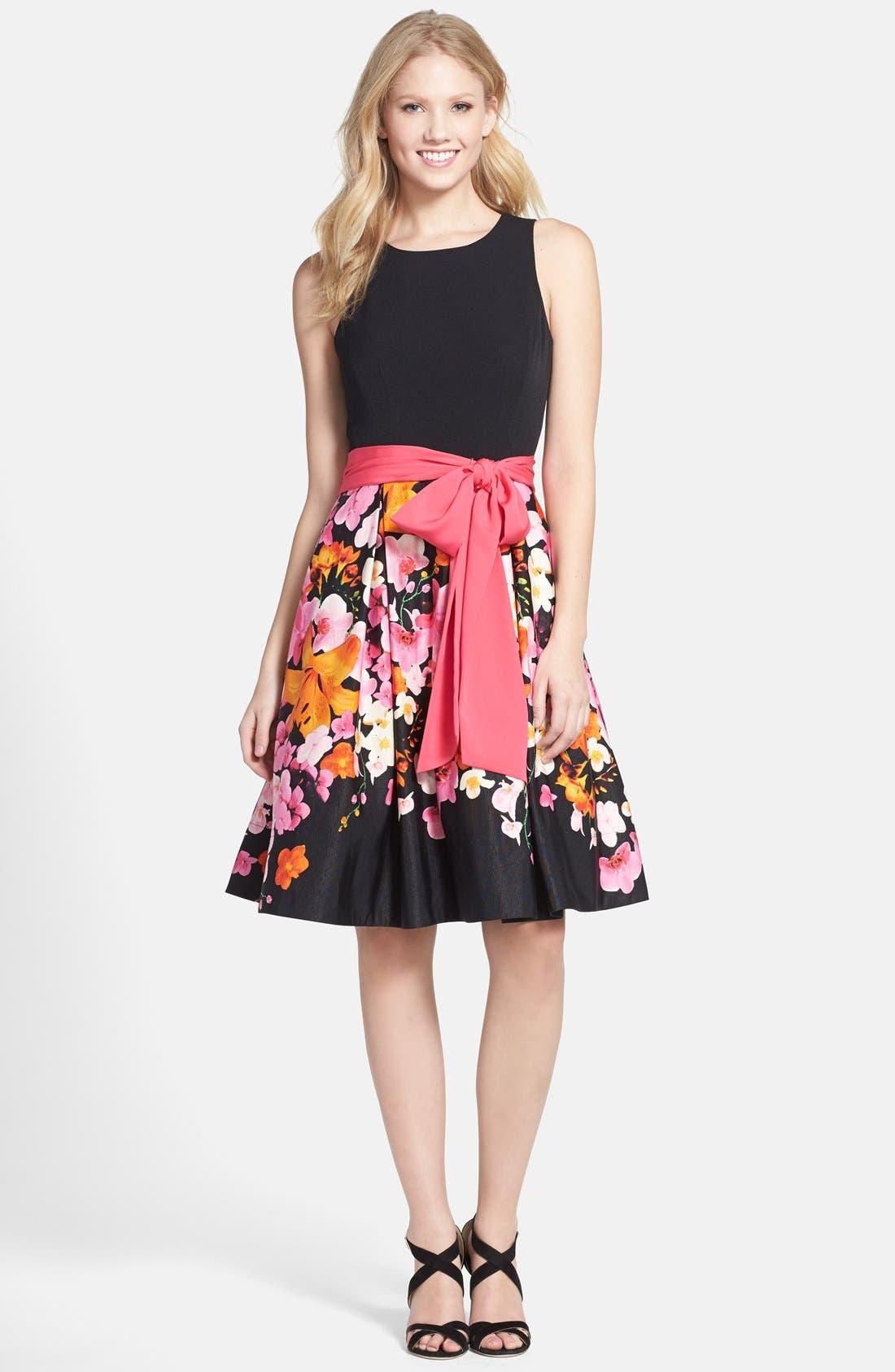 Alternate Image 3  - Eliza J Floral Print Faille Fit & Flare Dress (Regular & Petite)