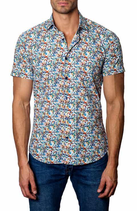 Jared Lang Trim Fit Floral Sport Shirt