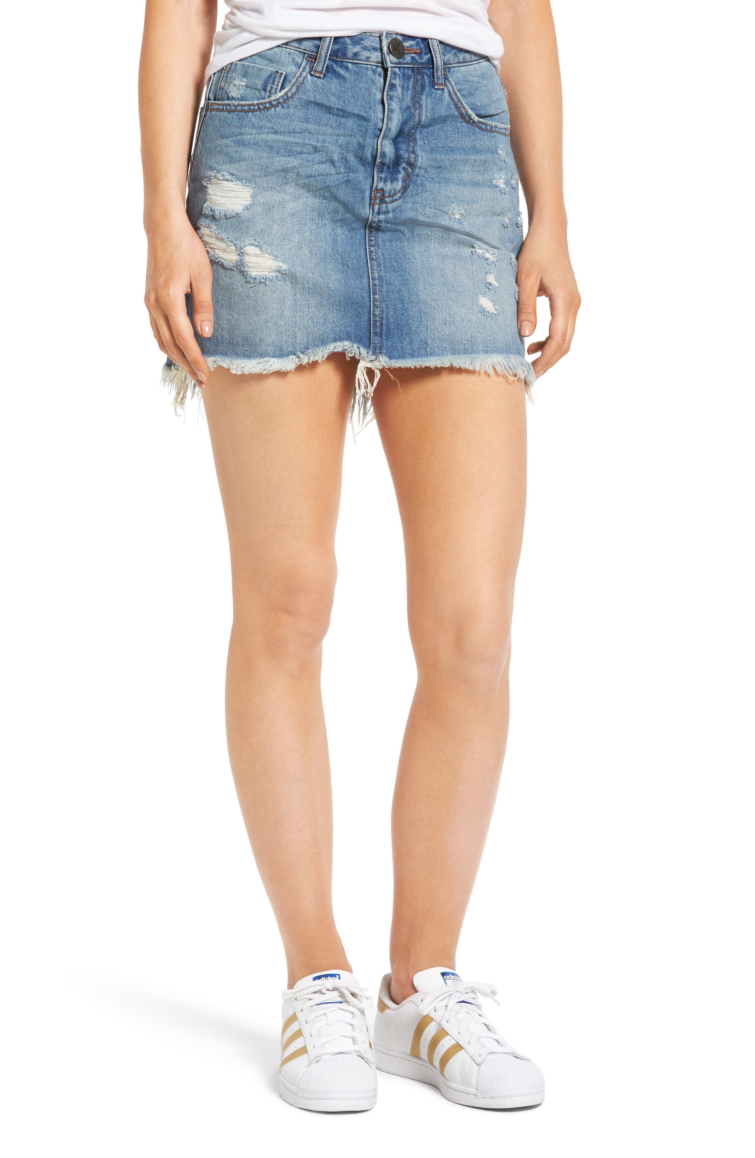 One Teaspoon 2020 Denim Miniskirt (Johnnie Blue)