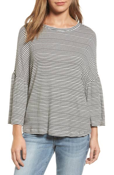 Main Image - Caslon® Stripe Bell Sleeve Tee (Regular & Petite)