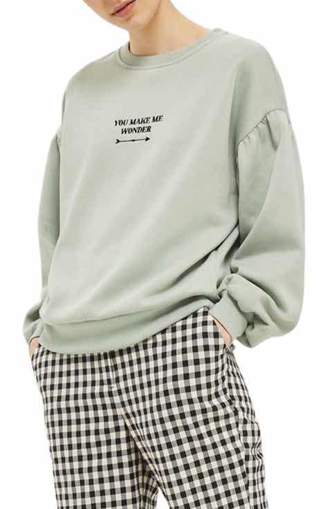 Topshop You Make Me Wonder Puff Sweatshirt