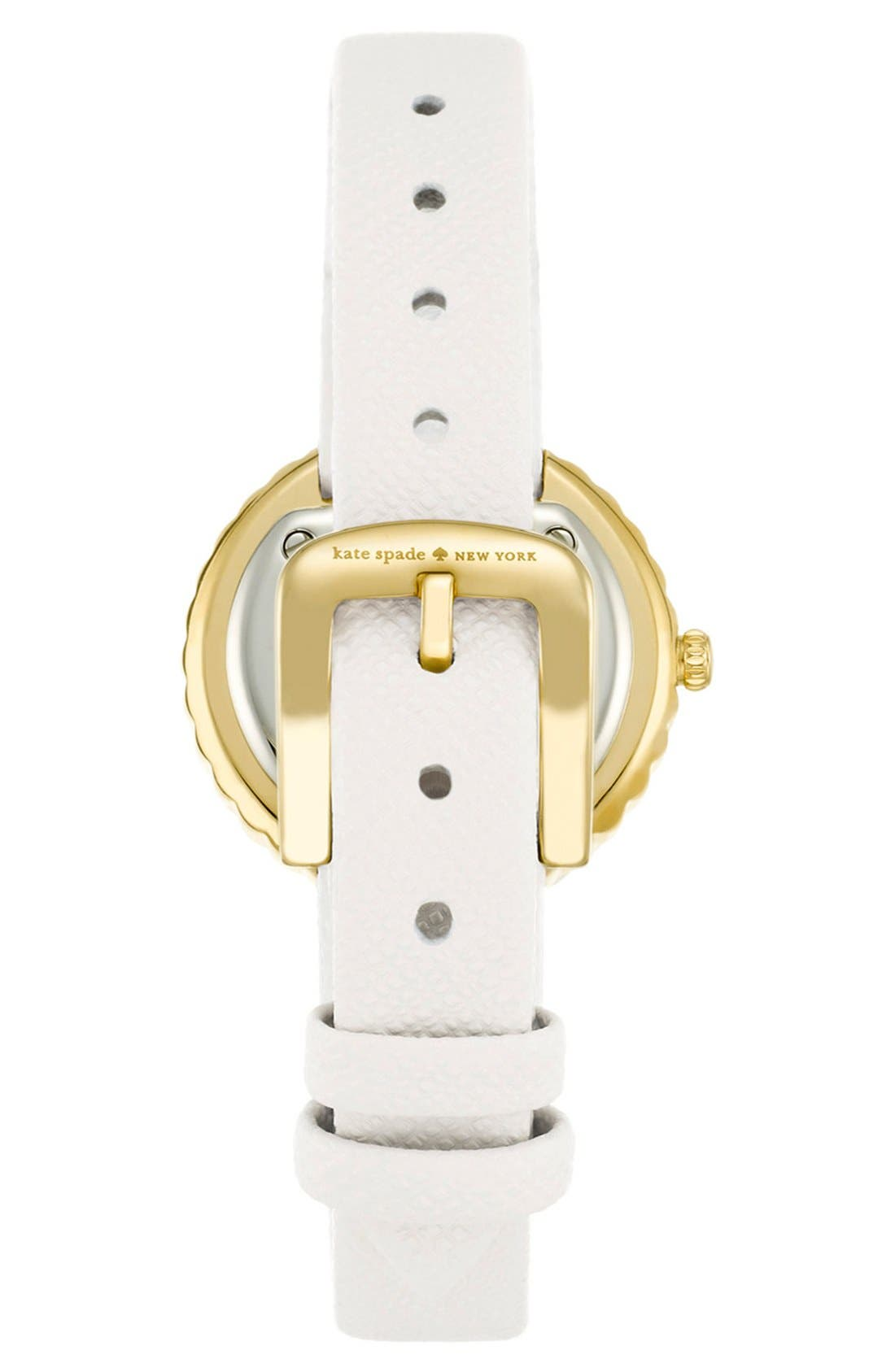 Alternate Image 2  - kate spade new york 'cornelia' crystal bezel leather strap watch, 27mm