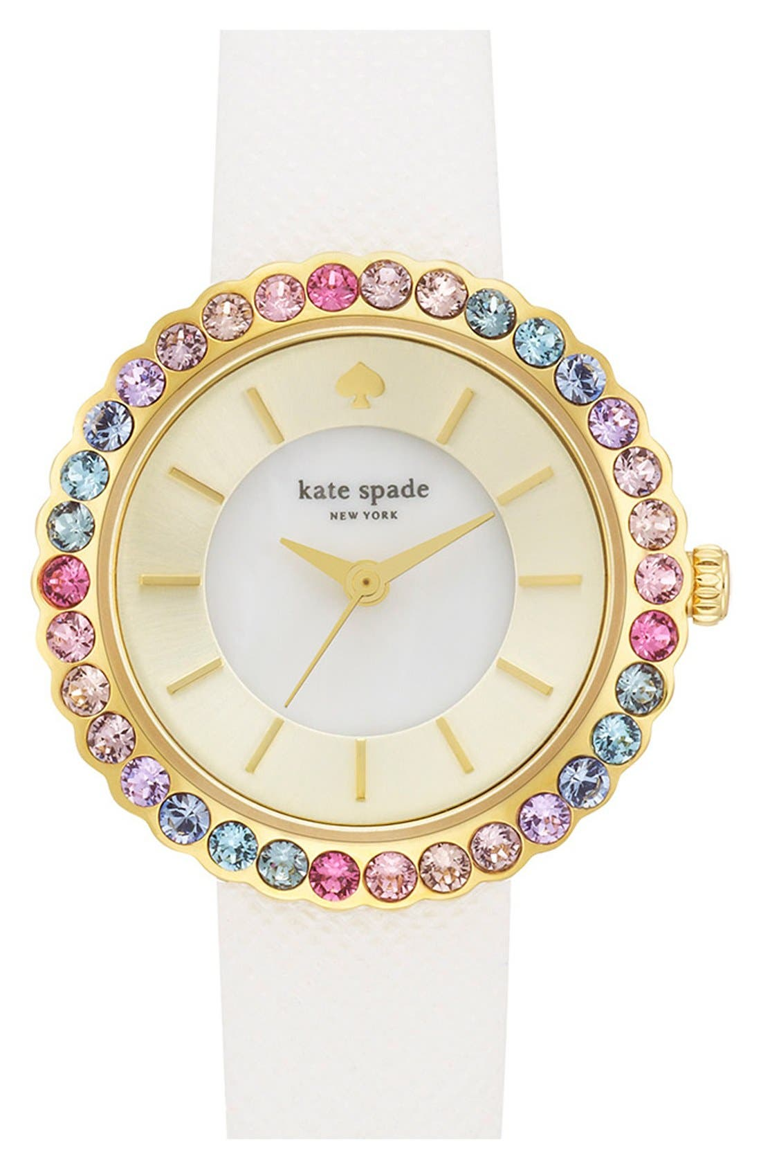 Main Image - kate spade new york 'cornelia' crystal bezel leather strap watch, 27mm