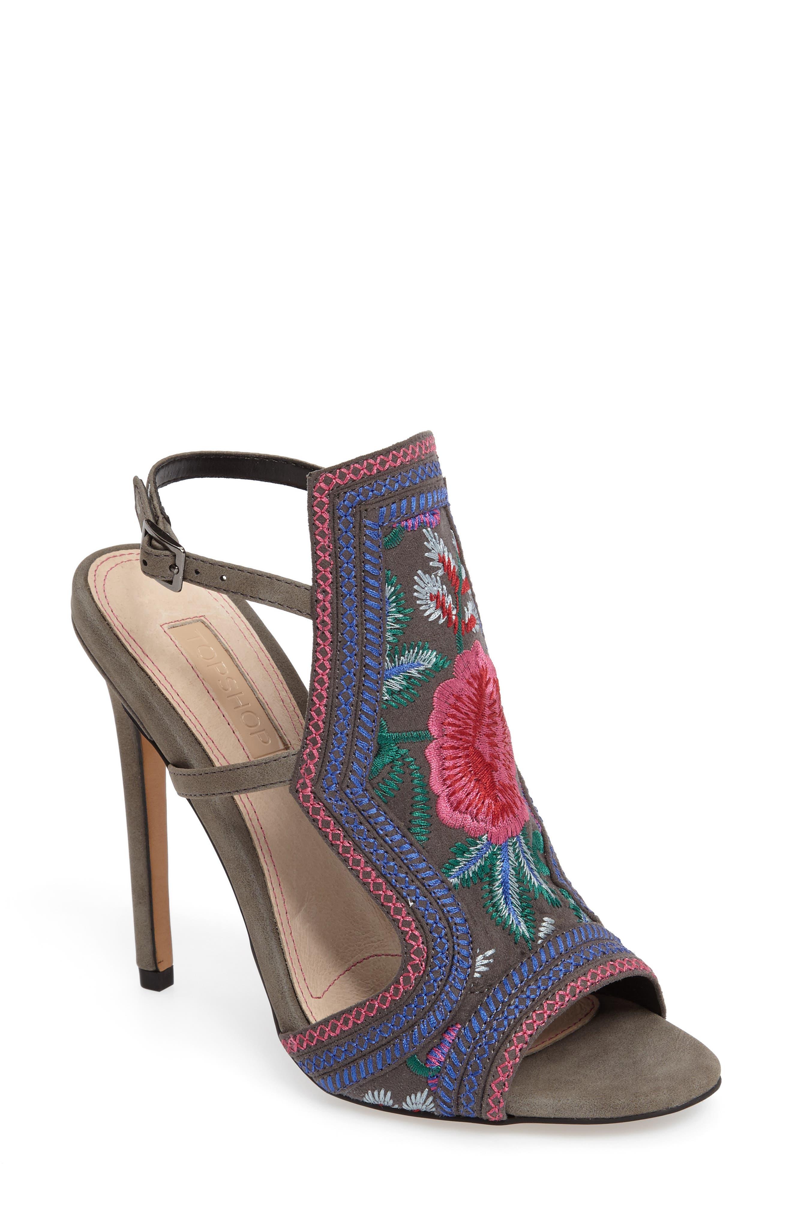 Topshop Raquel Embroidered Sandal (Women)