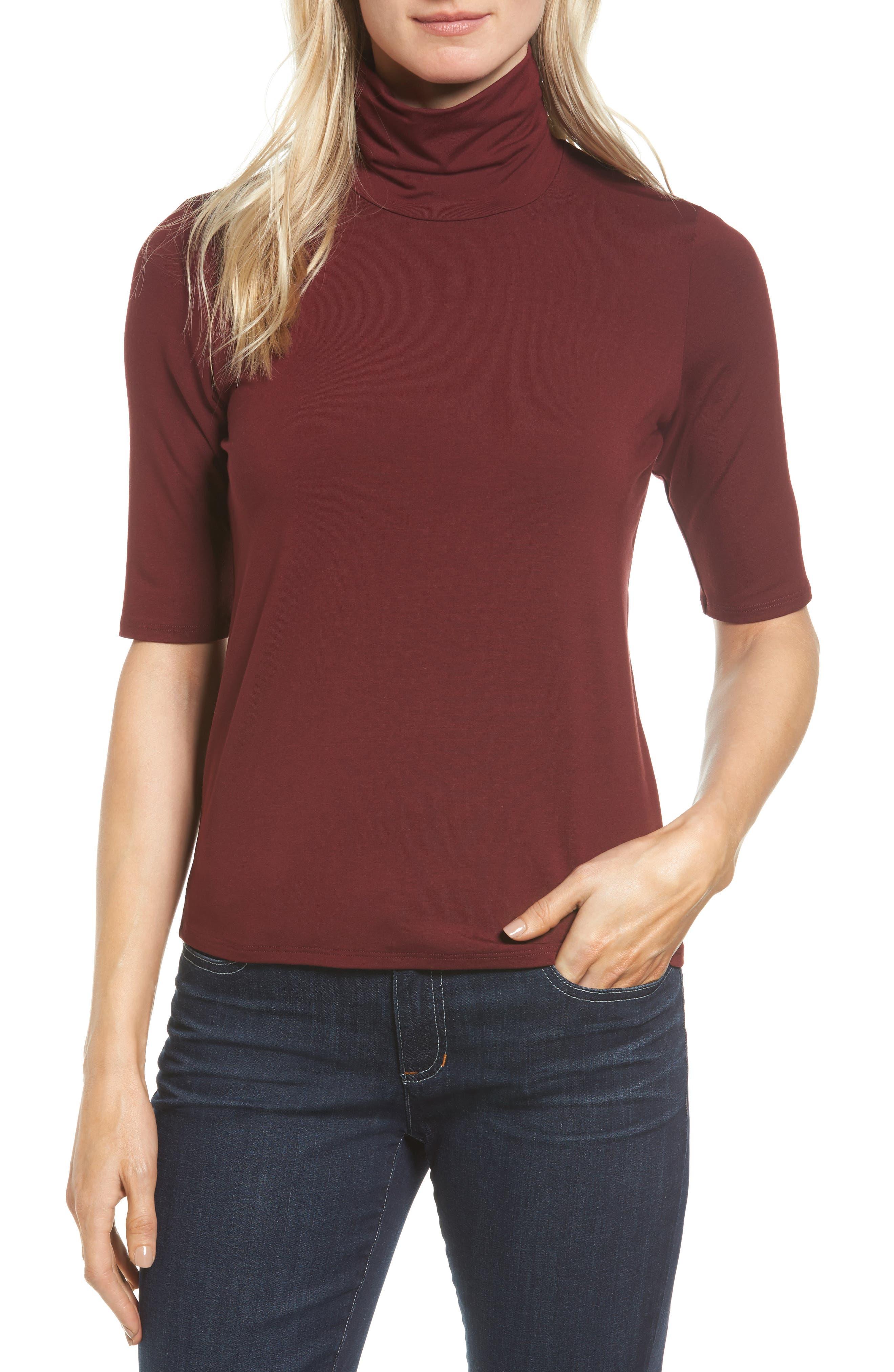 Eileen Fisher Scrunch Neck Jersey Top (Regular & Petite)
