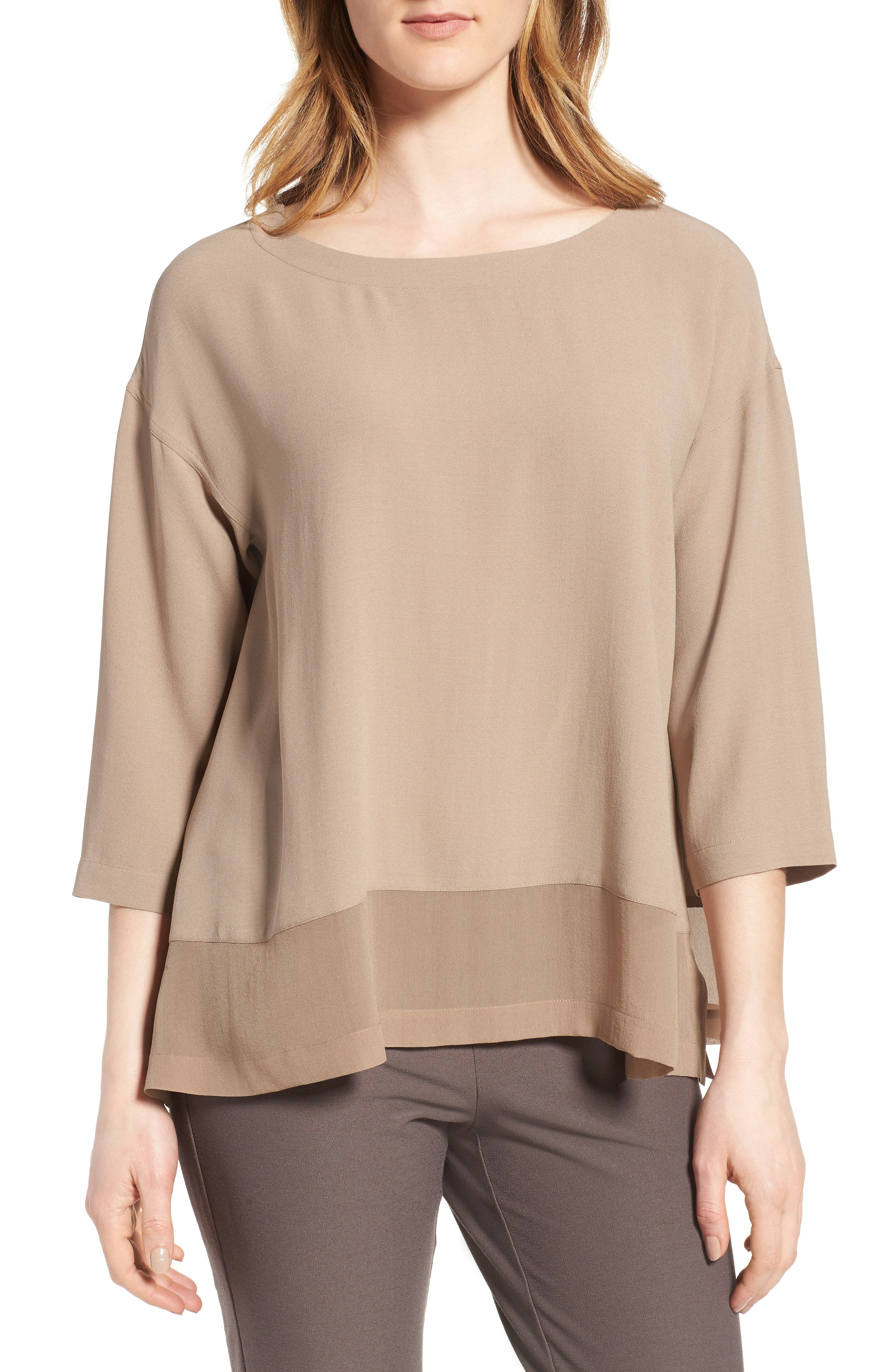 Eileen Fisher Sheer Hem Silk Top (Regular & Petite)