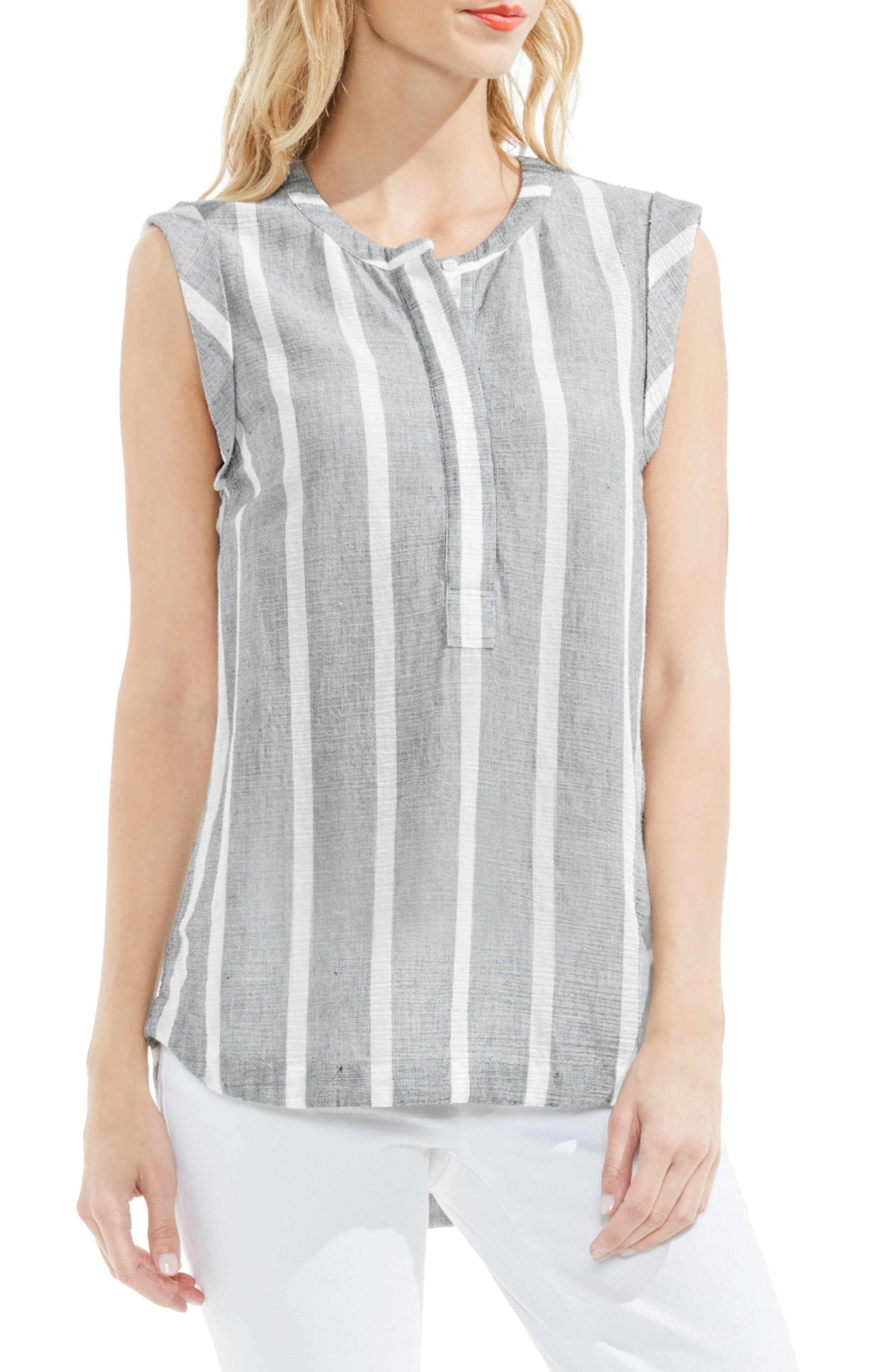 Two by Vince Camuto Stripe Gauze Henley Top