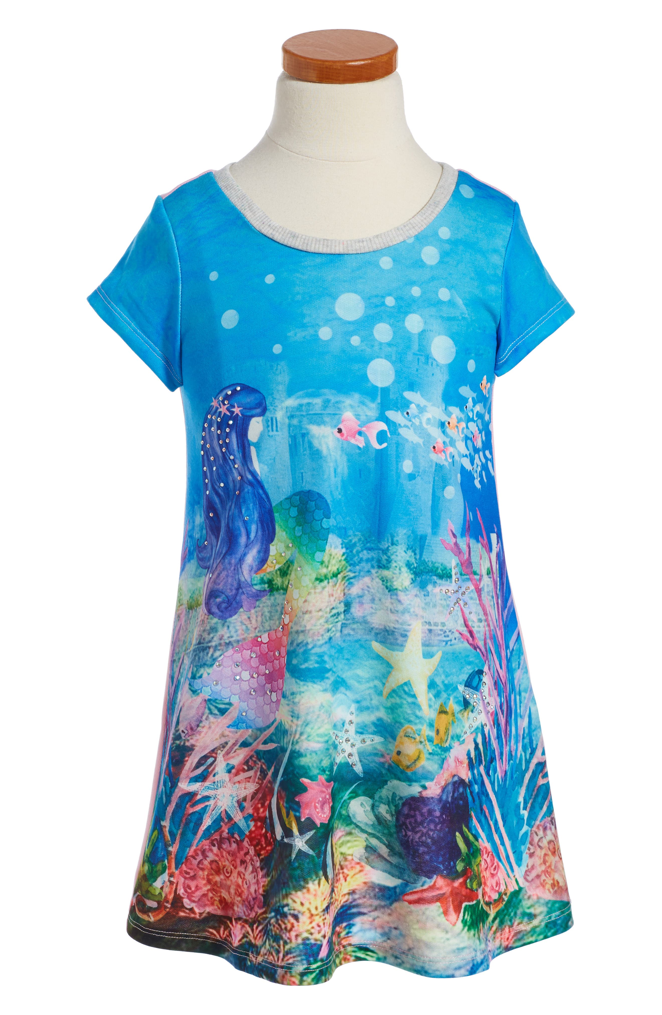 Truly Me Crystal Mermaid Print Dress (Toddler Girls & Little Girls)