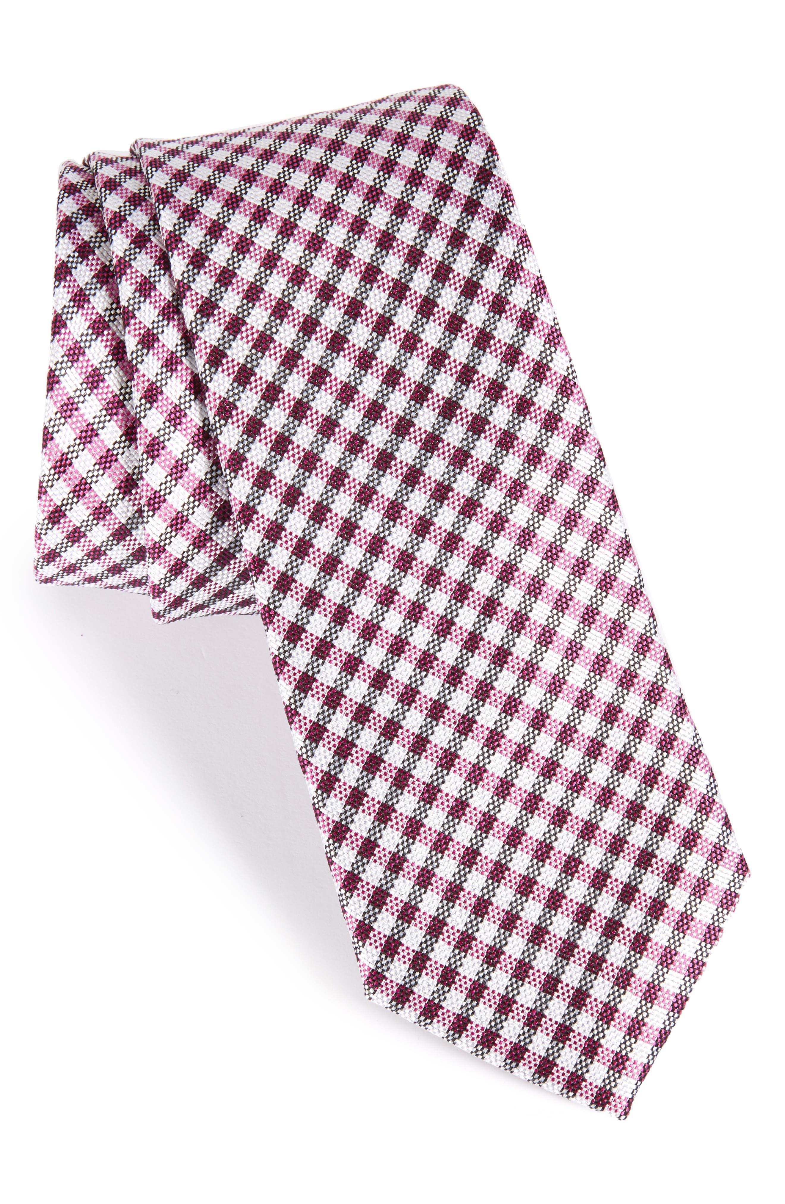 Nordstrom Men's Shop Check Silk Skinny Tie
