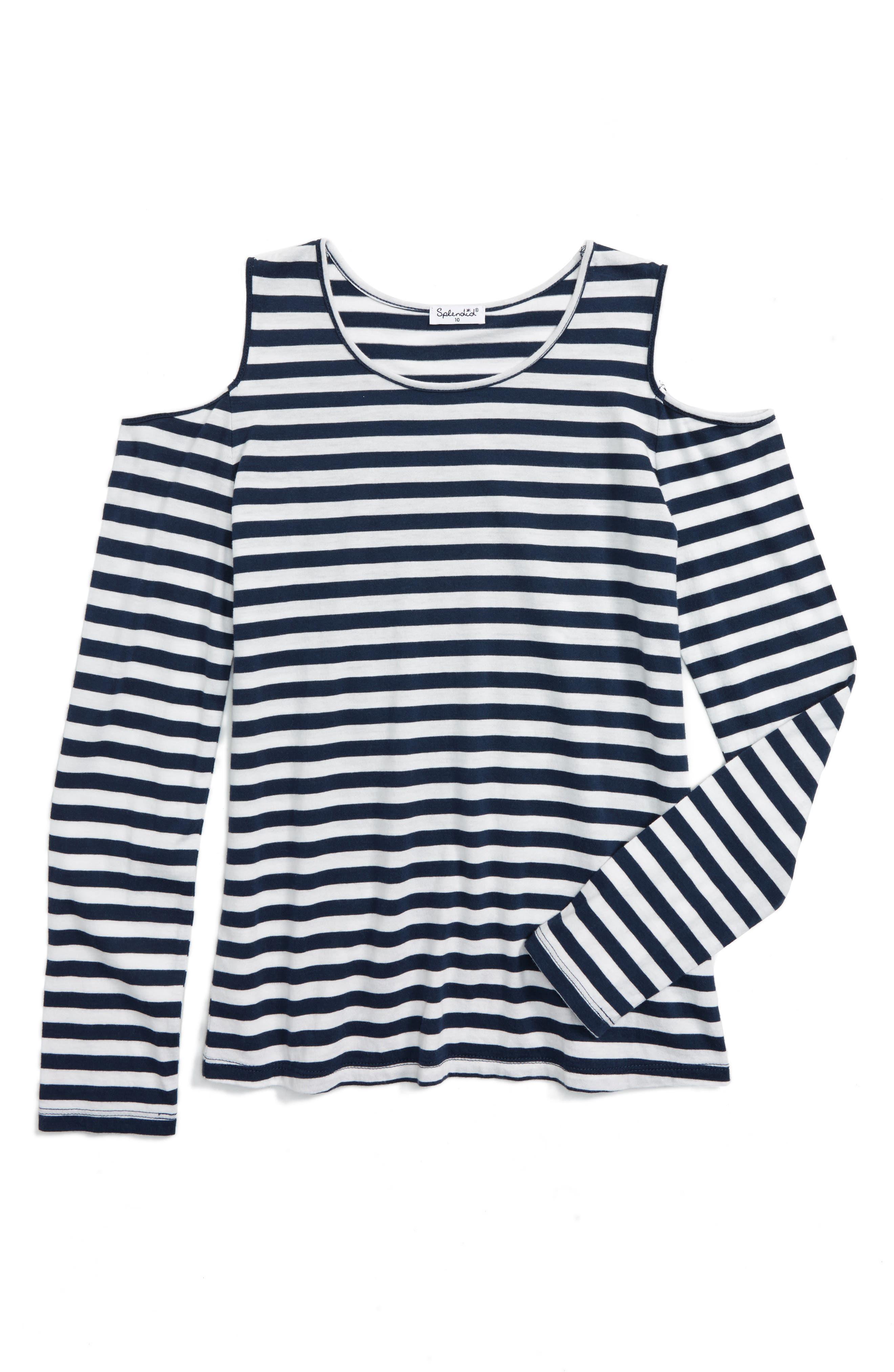Splendid Stripe Cold Shoulder Top (Big Girls)