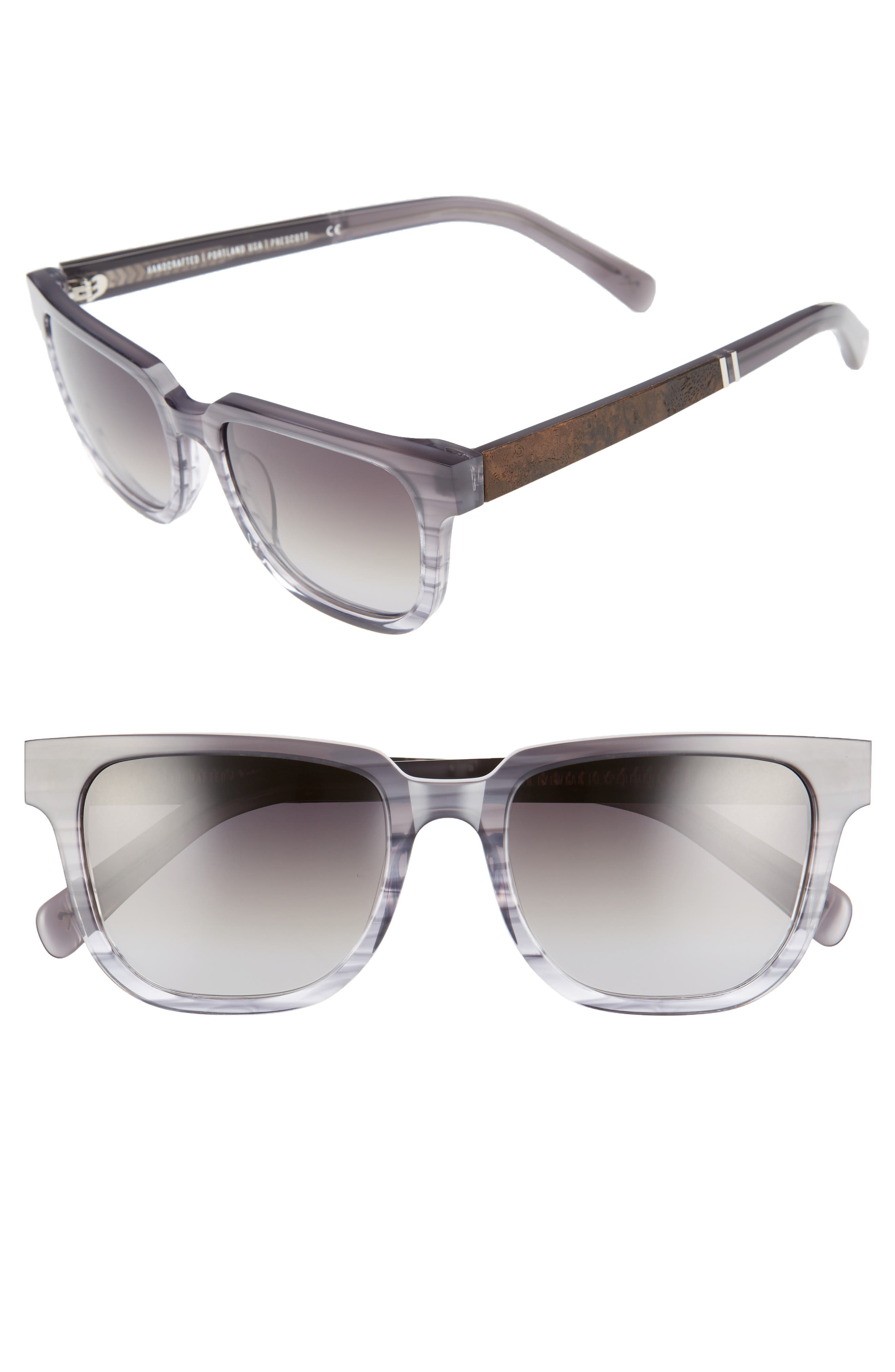 Shwood 'Prescott' 52mm Acetate & Wood Polarized Sunglasses