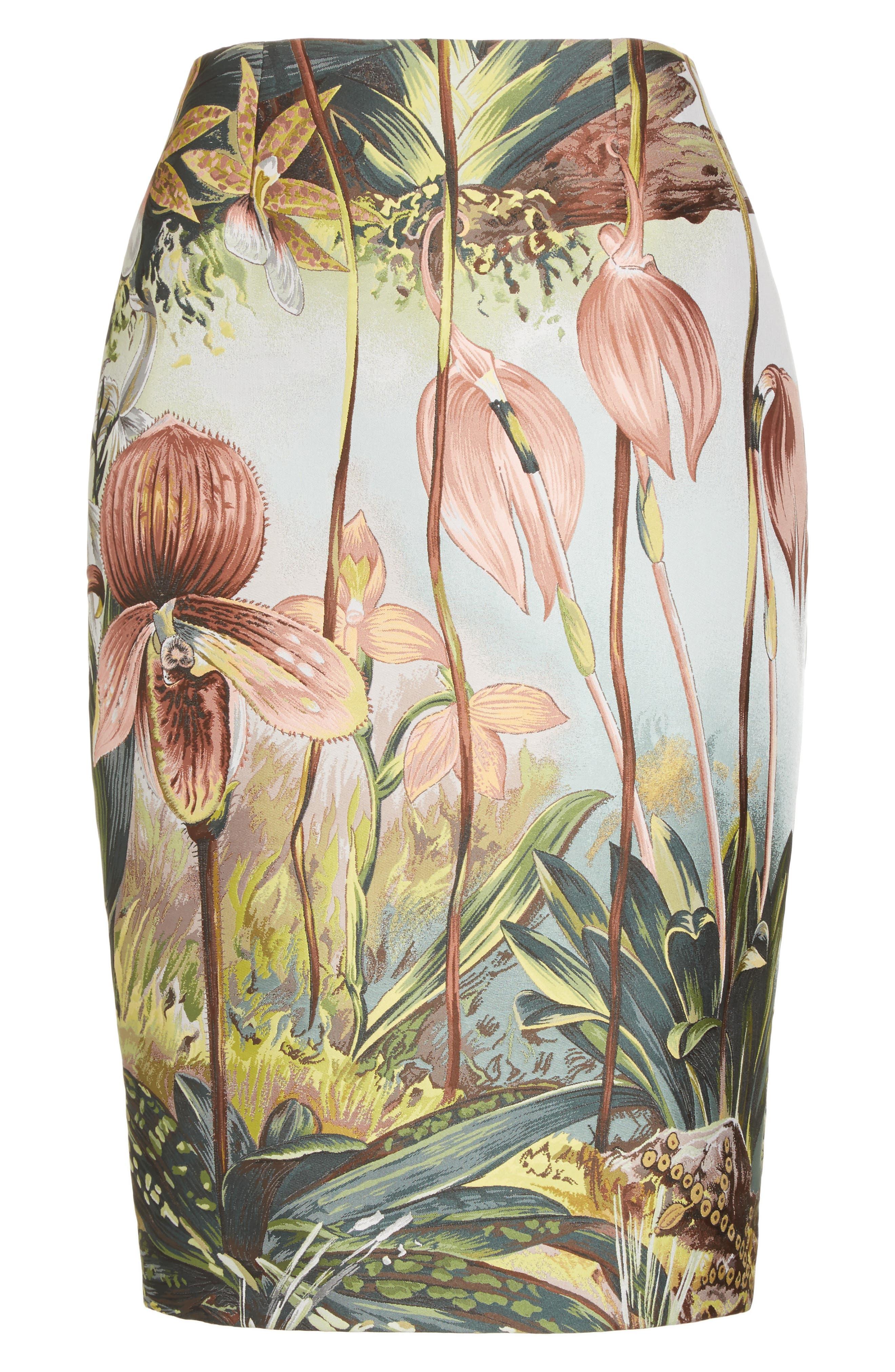 Alternate Image 4  - Adam Lippes Orchid Print Jacquard Pencil Skirt